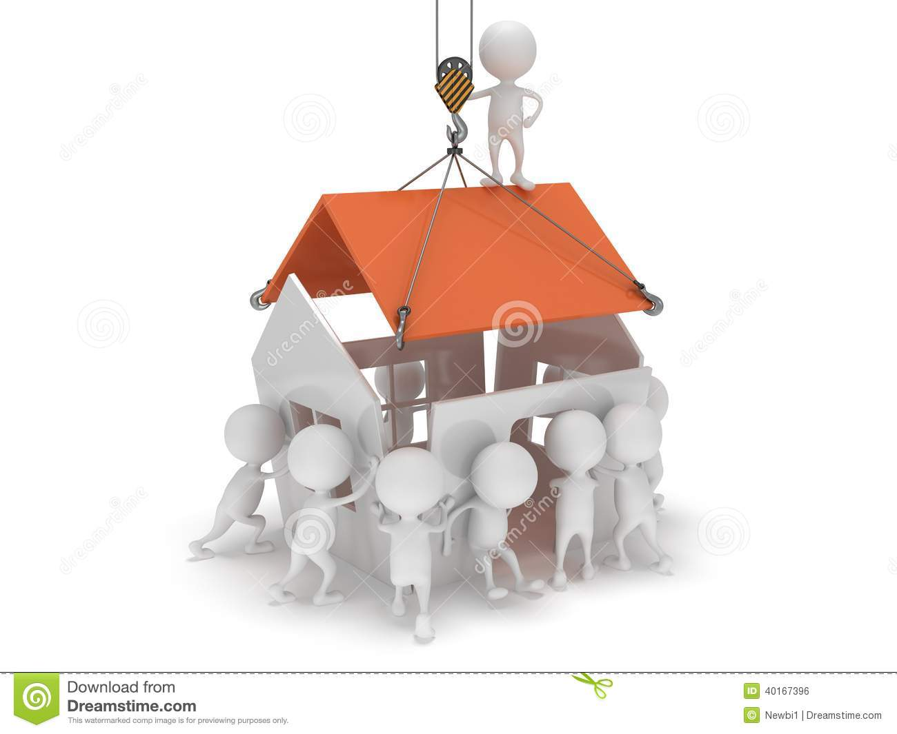 3d people build a house stock illustration illustration for Build a house online free 3d