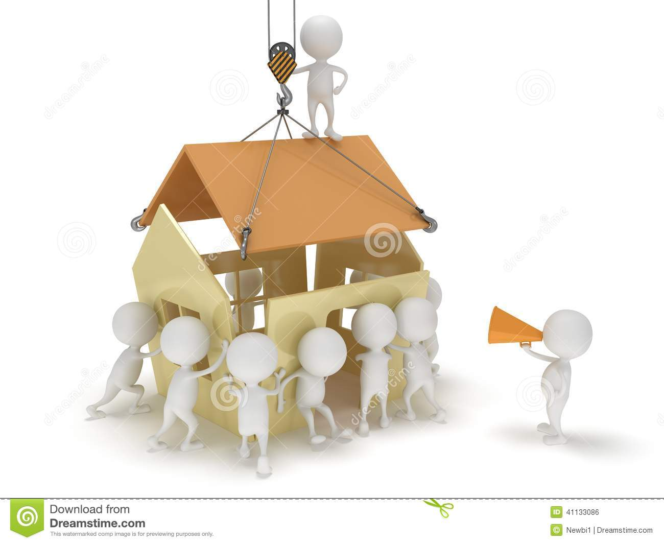 3d people build a house stock illustration image 41133086 for Building a dog kennel business