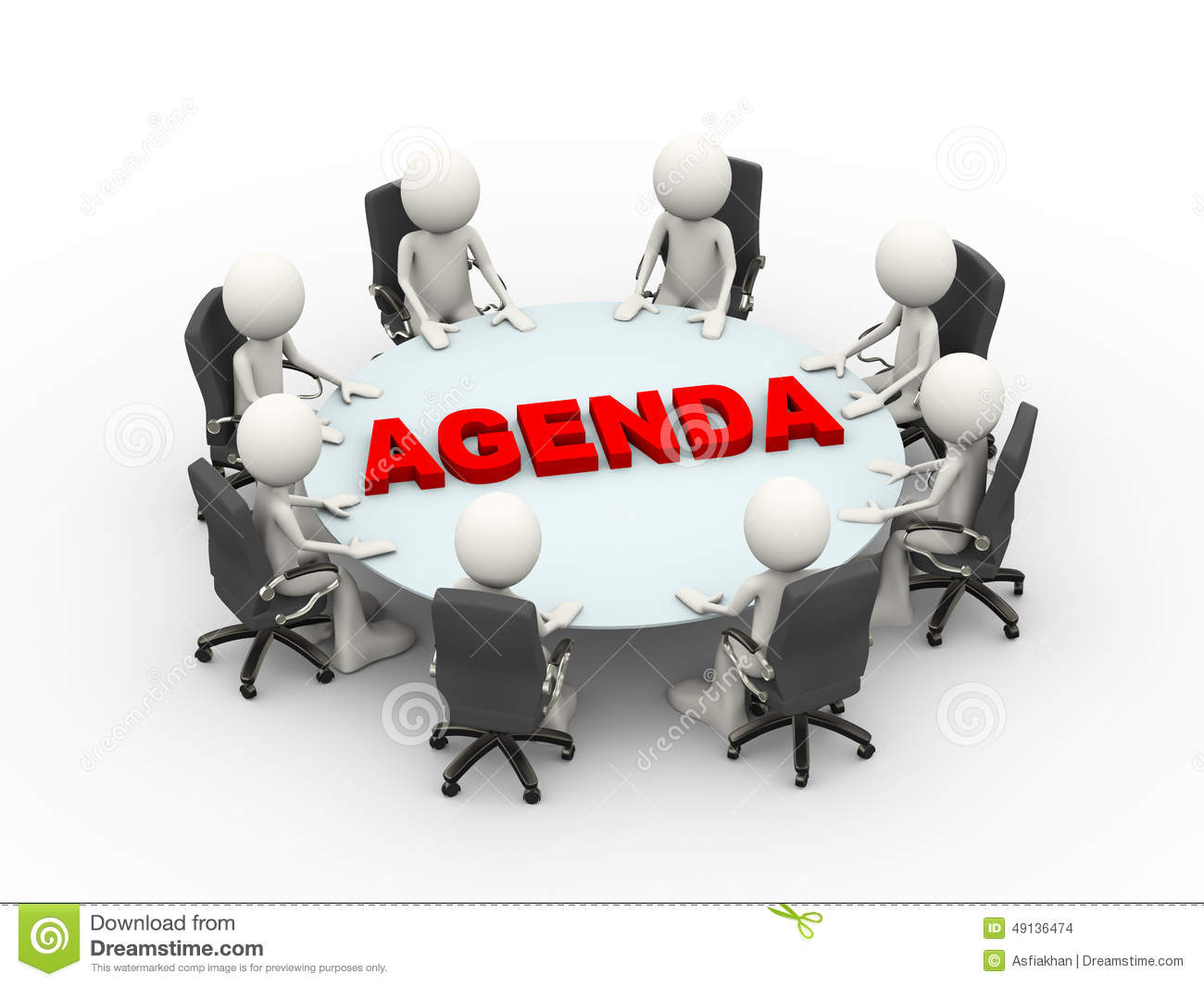 3d People Business Meeting Conference Agenda Table Stock Illustration ...