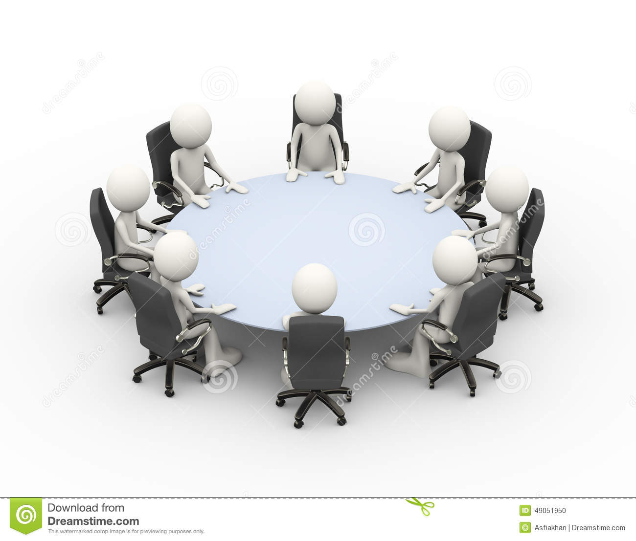 3d People Business Meeting Conference Table Stock