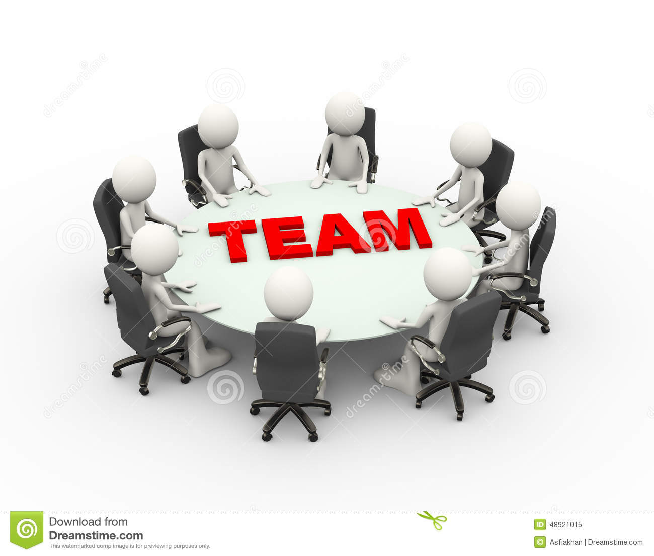 3d People Business Meeting Conference Team Table Stock
