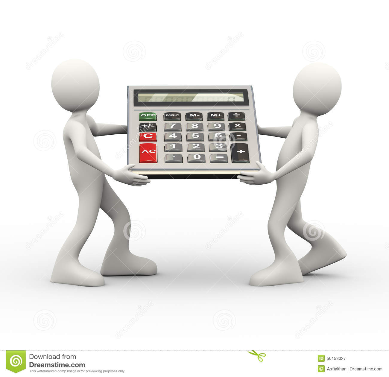 3d White Man Holding A Calculator Royalty Free Stock