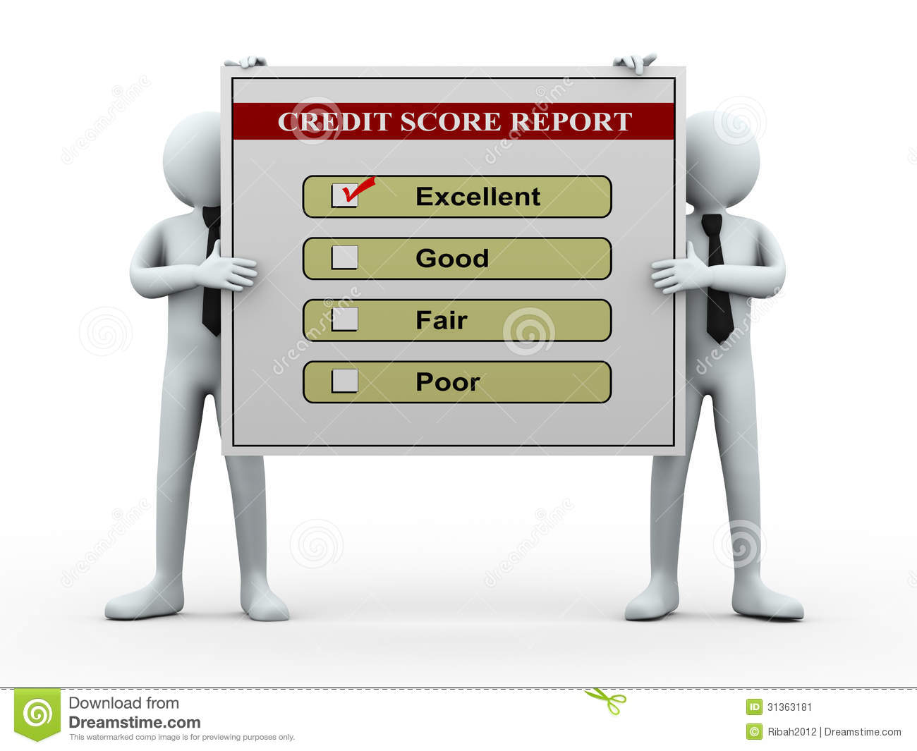 3d People And Credit Score Report Stock Illustration ...