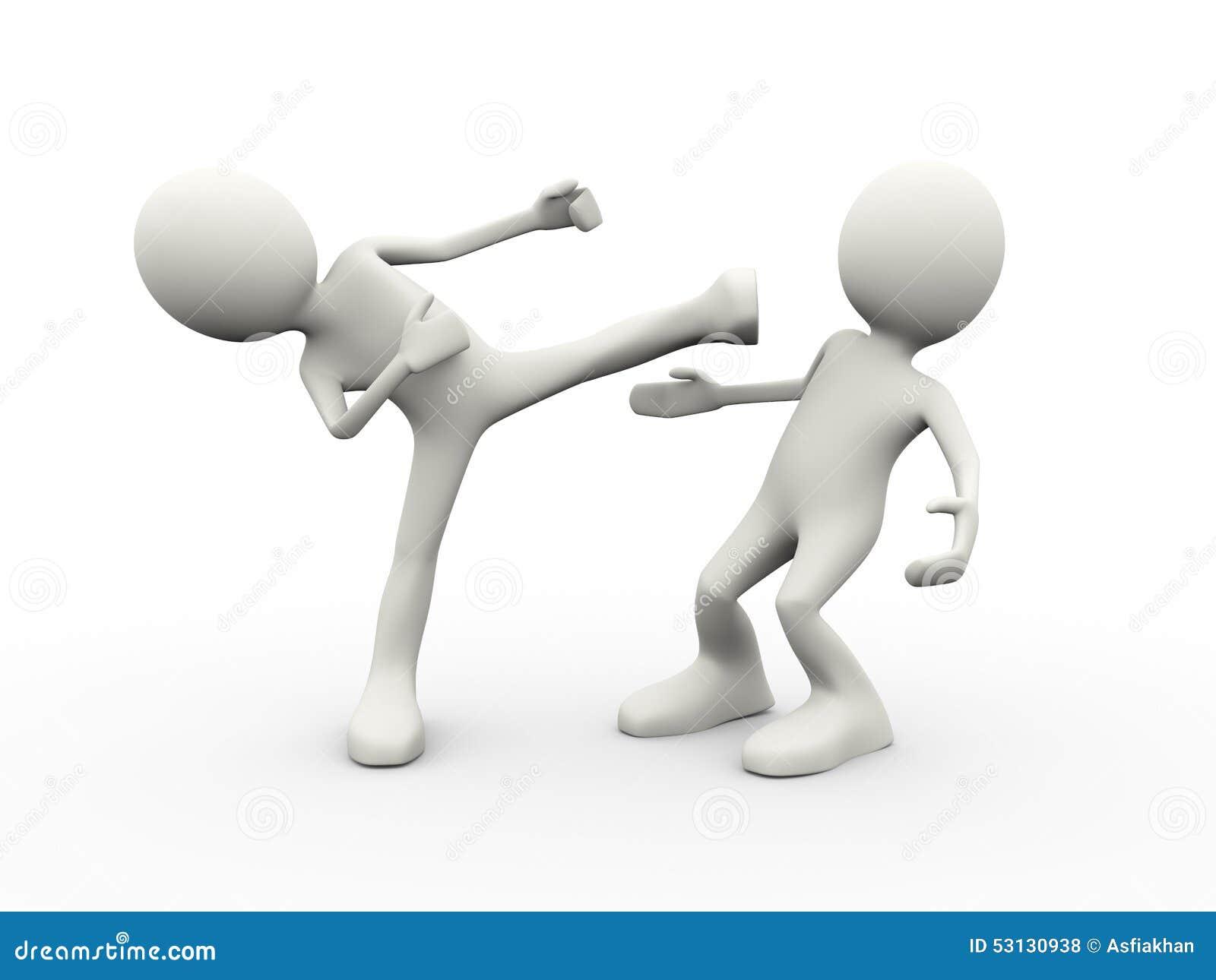 3d illustration of man kicking kung fu kick to his enemy. 3d human ...
