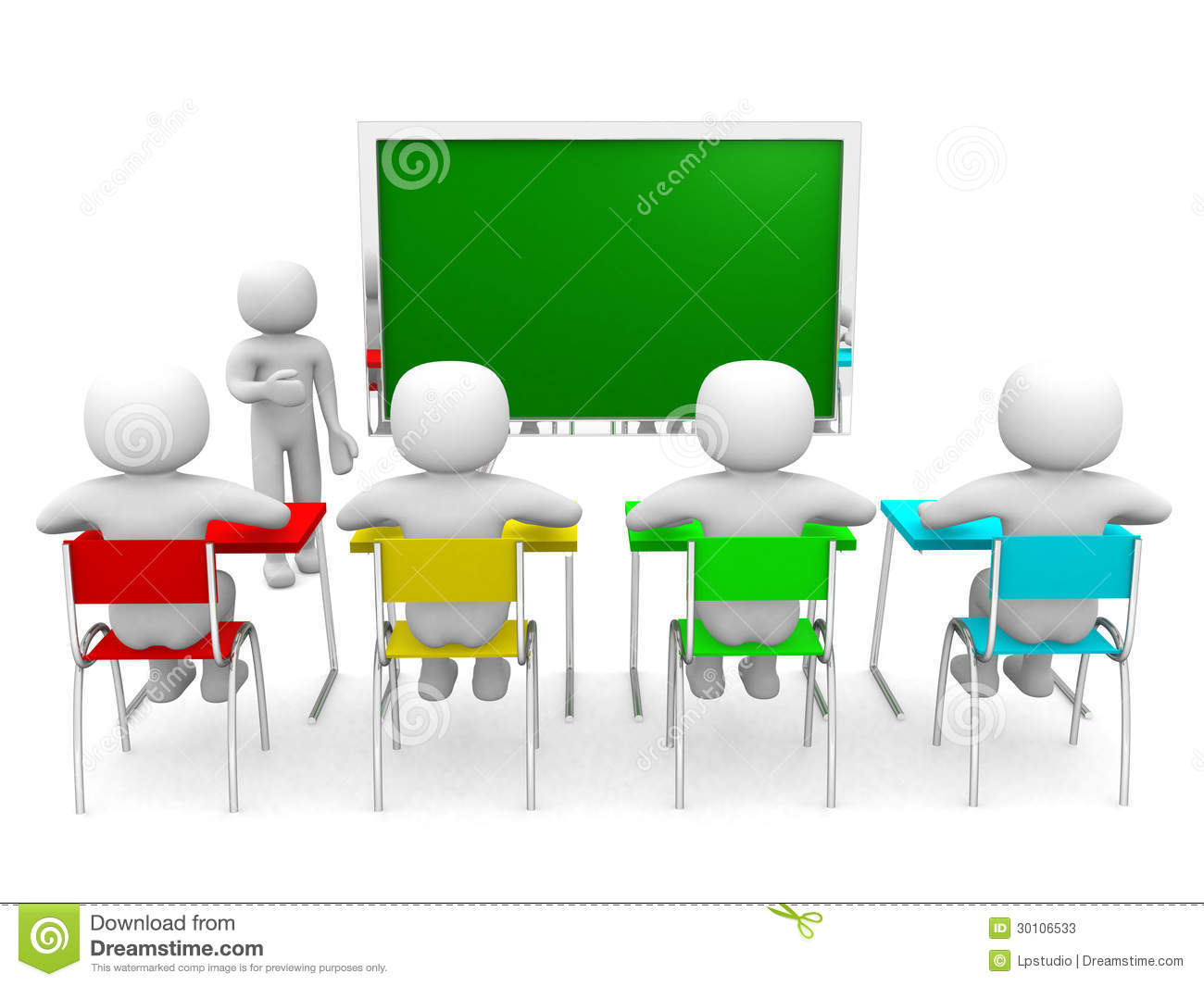 3d people with hand close to blackboard stock illustration