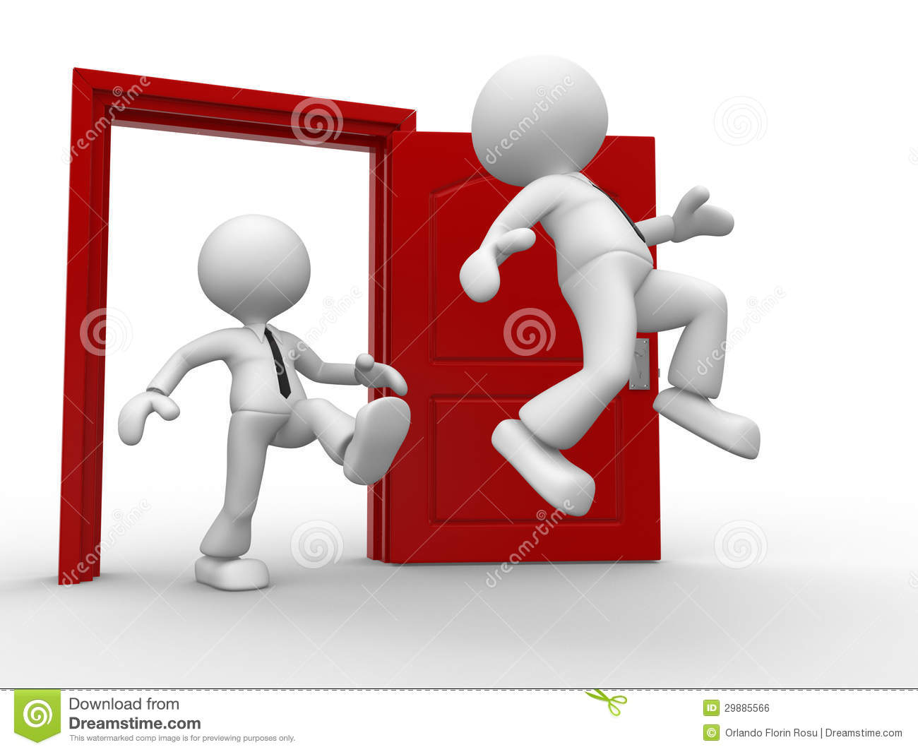 Royalty Free Stock Image D People Man Person Kicking Behind Opponent Open Door Image29885566 on man opening door
