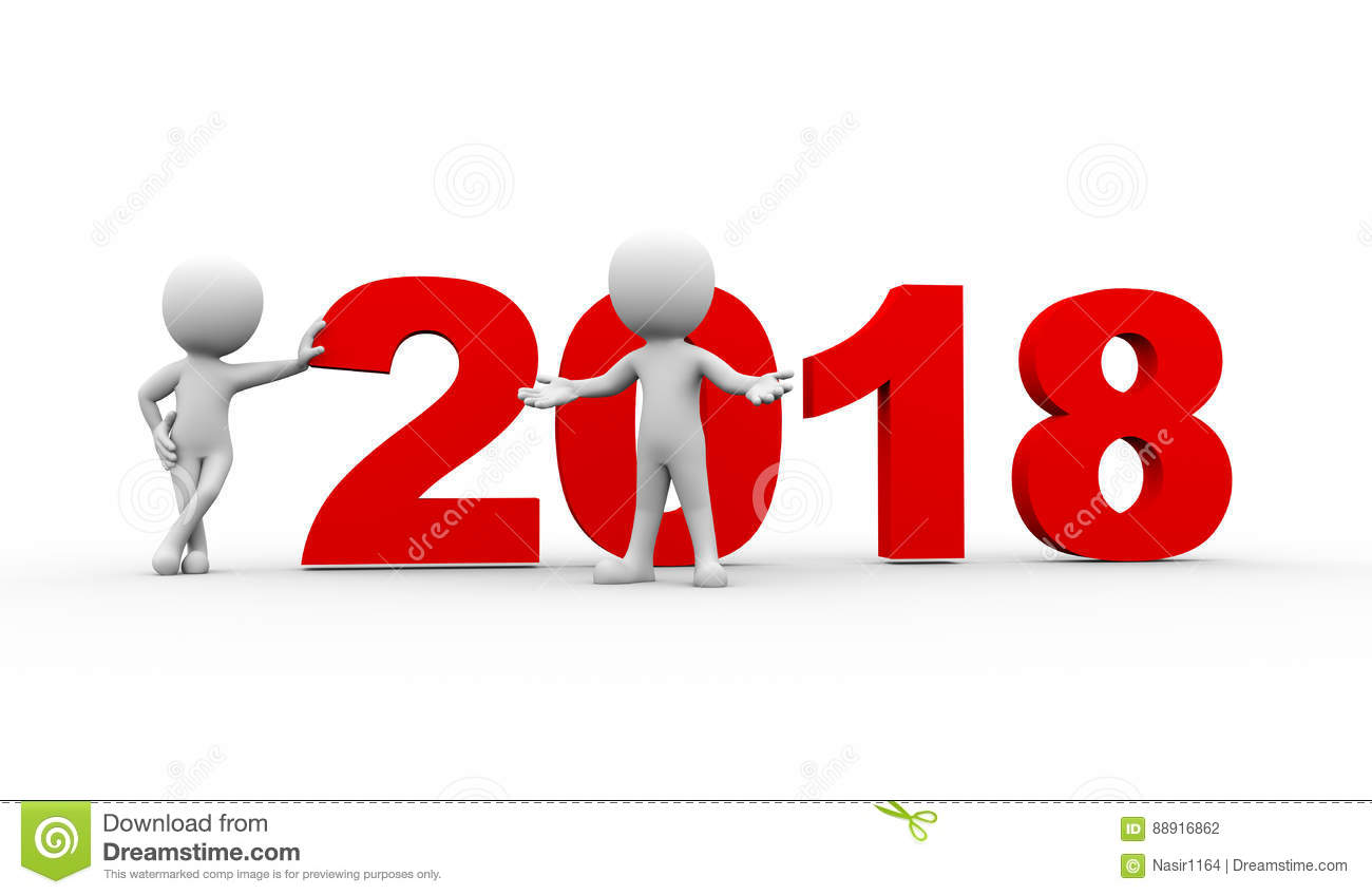 3d People New Year 2018 Welcome Stock Illustration - Illustration of ...