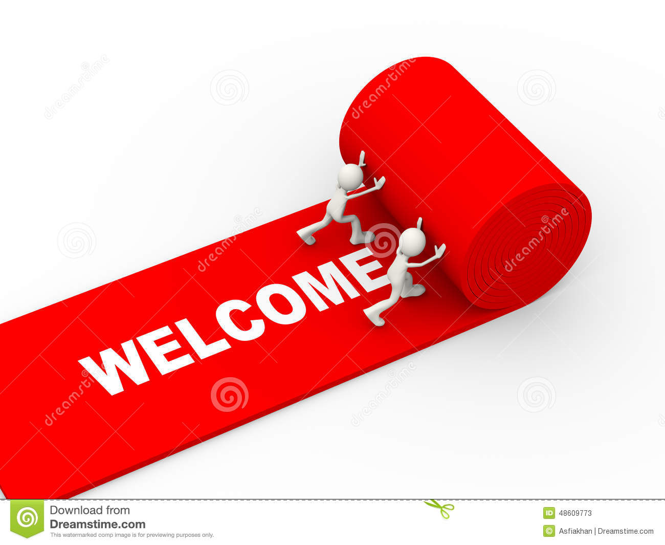 3d People Rolling Red Welcome Carpet Stock Illustration