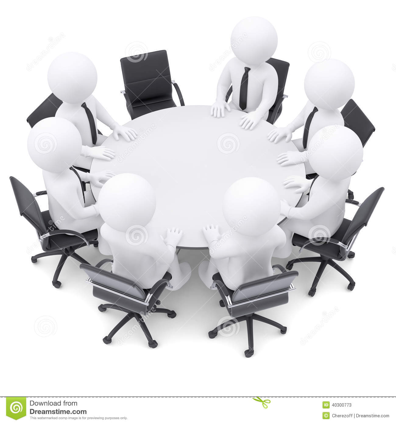 3d People At The Round Table One Chair Is Empty Stock