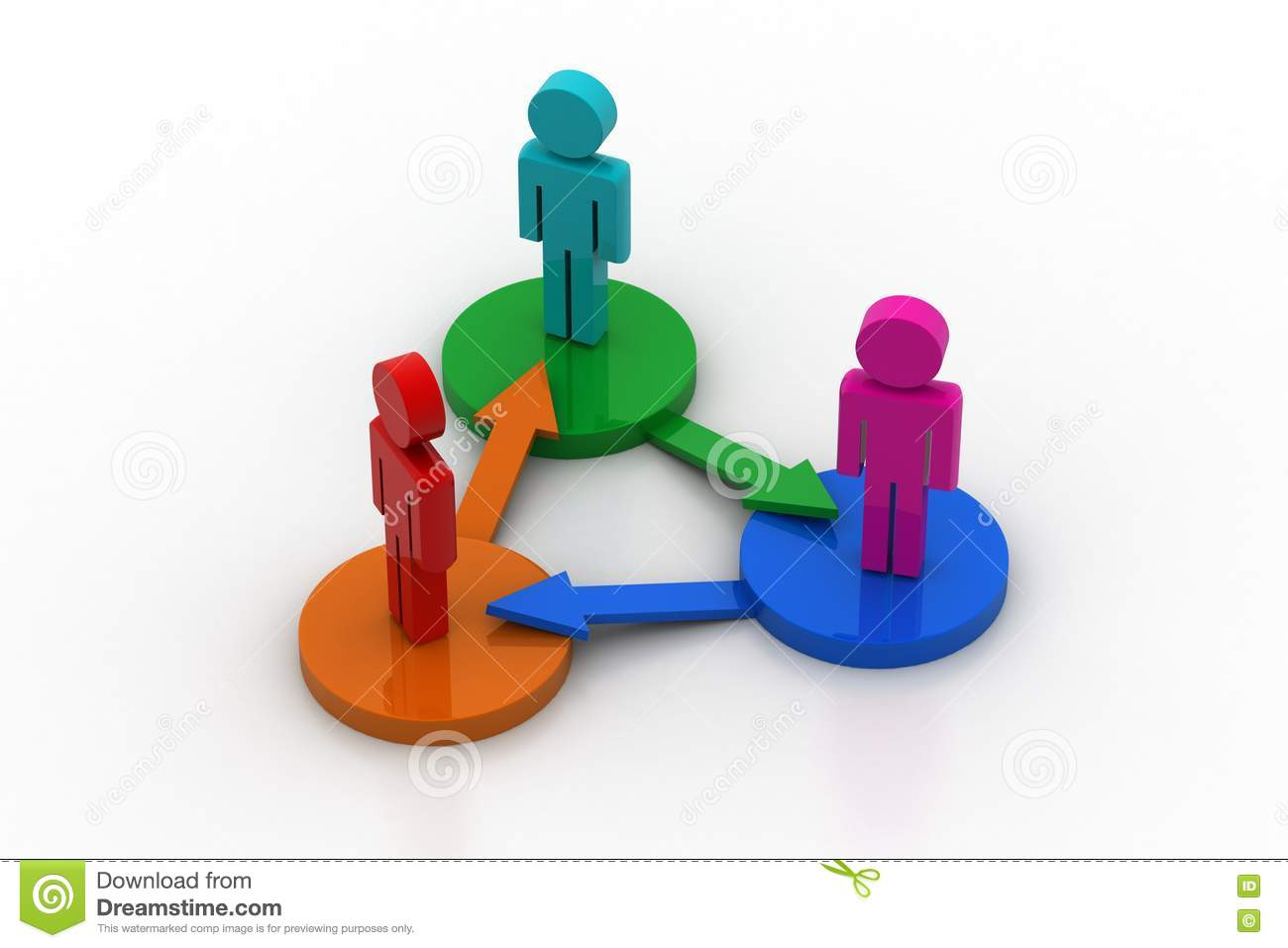 3d People Standing On A Diagram Stock Illustration