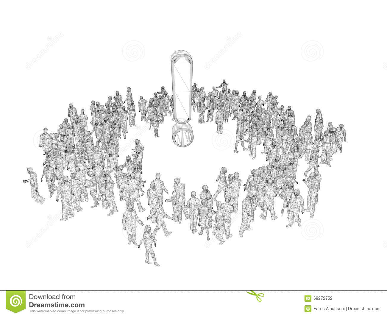 3d People Wireframe Around A Symbol Stock Illustration