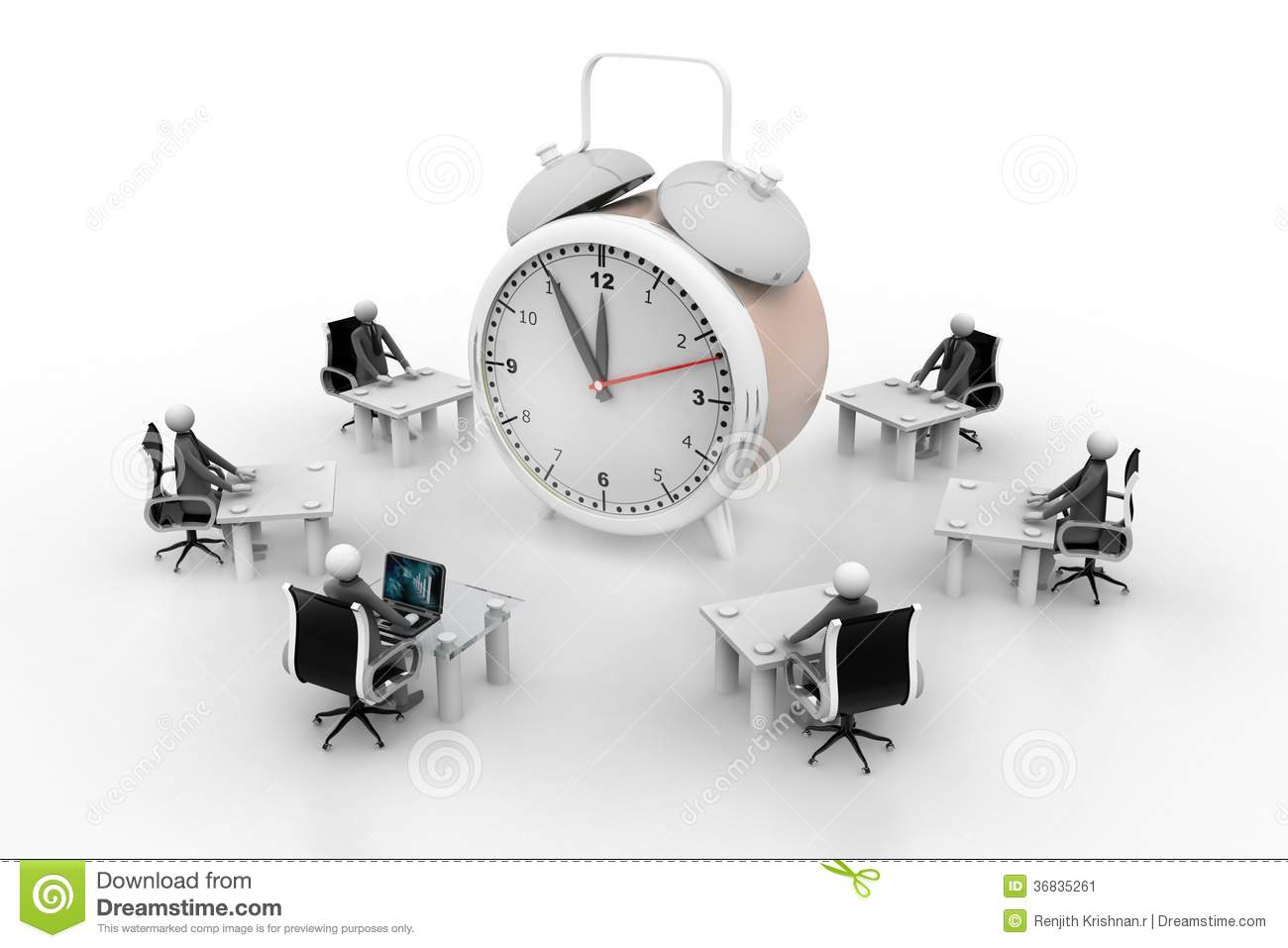 3d people working around the alarm clock stock illustration