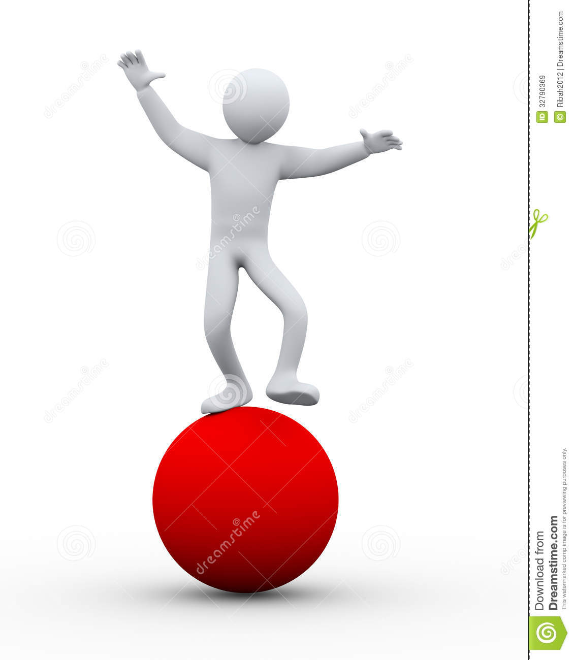 3d Person Balancing On Ball Royalty Free Stock Images