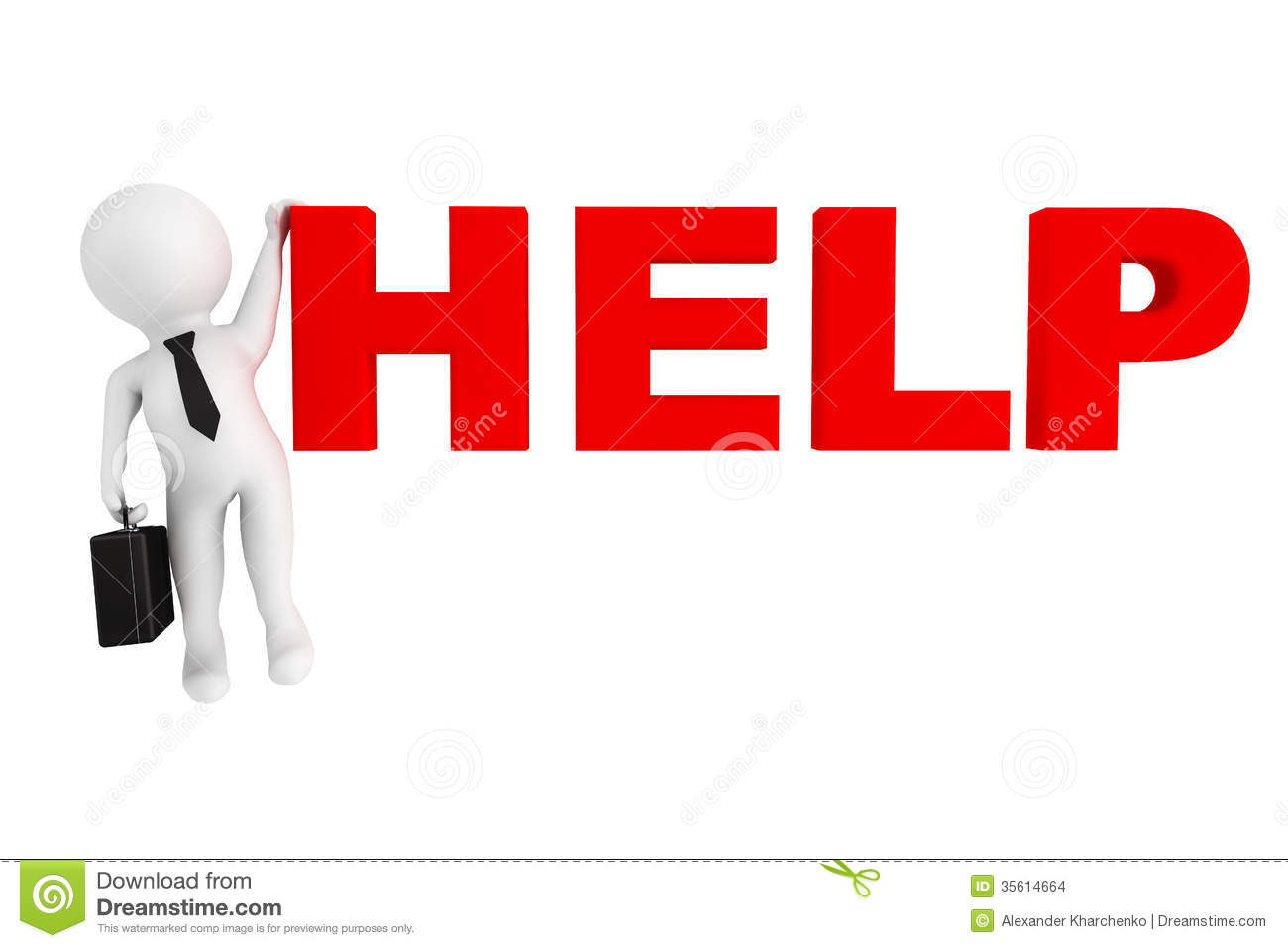 3d Person Businessman With Help Sign Stock Images - Image: 35614664