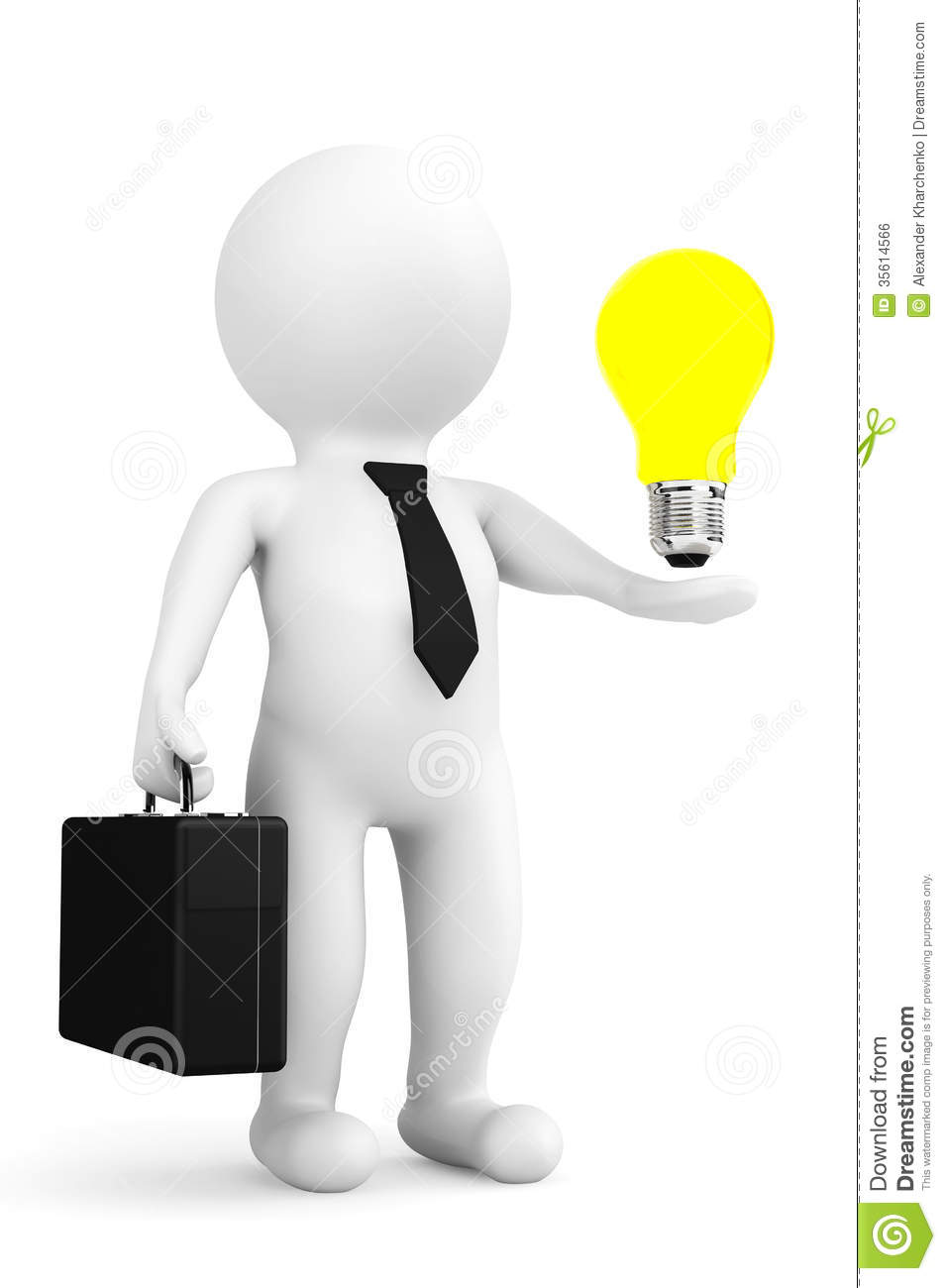 3d Person Businessman With Idea Bulb Over Hand
