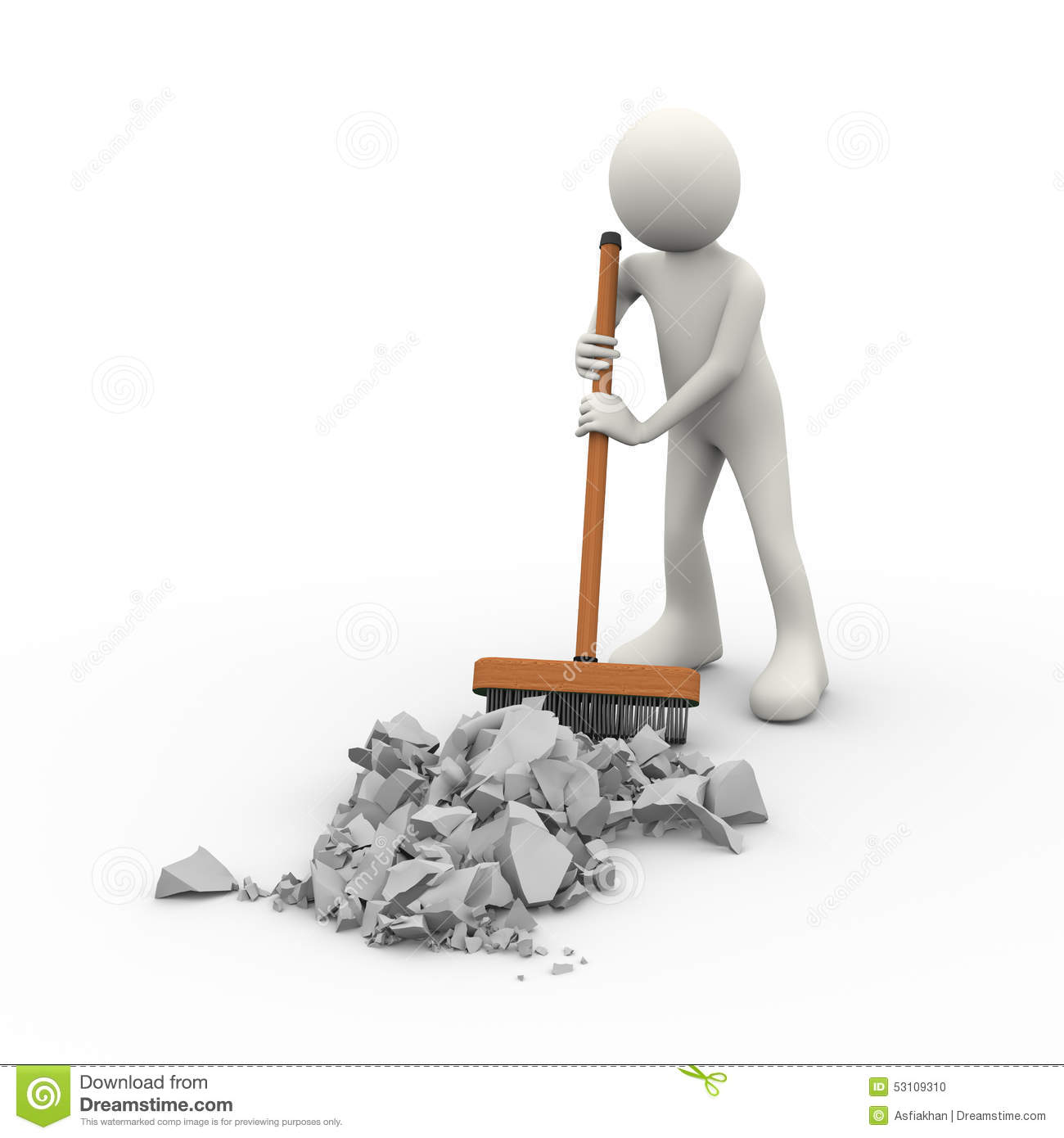 Floor Plans Architecture 3d Person Cleaning With Broom Deck Stick Brush Stock