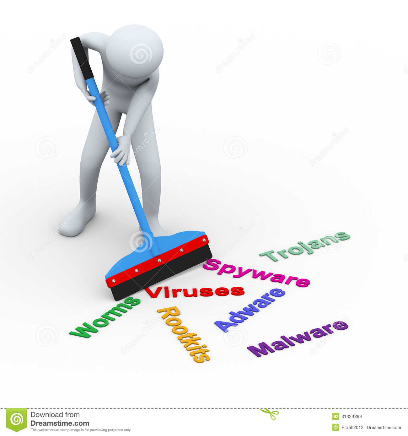 3d illustration of man with the help of wiper cleaning and removing ...