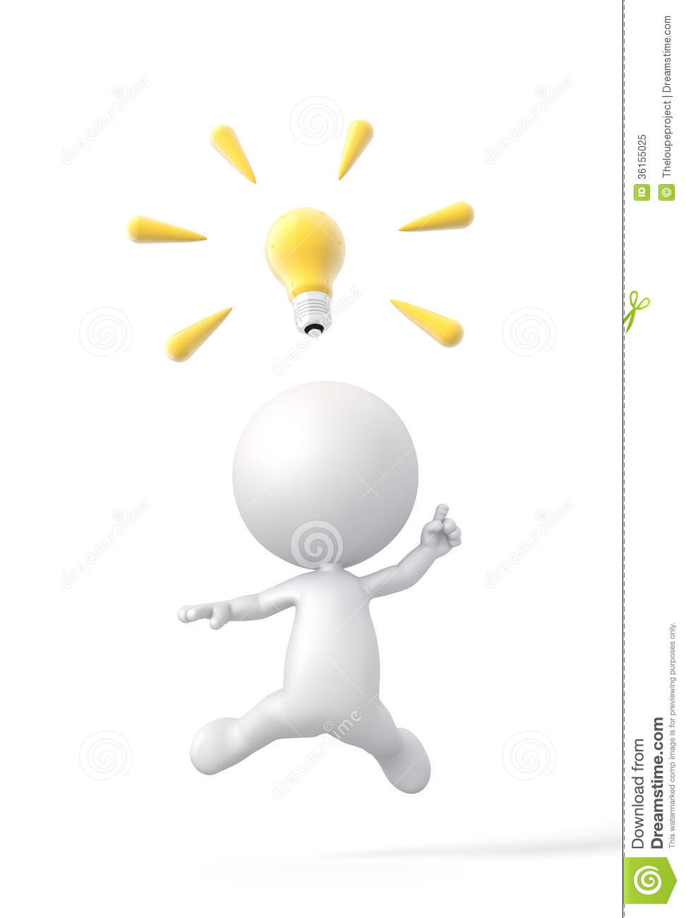3D Person Finds A Great Idea With Lightbulb. Royalty Free Stock Photo ...