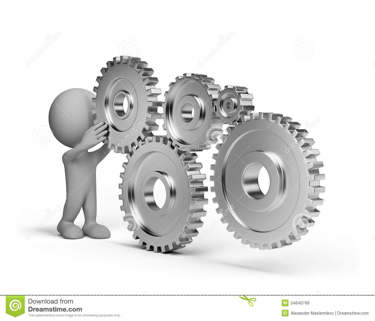 3d Person With A Gears Wheel Stock Illustration