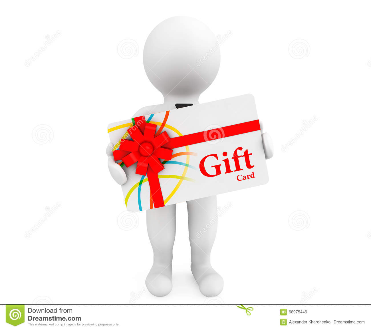 Gift card stock photos royalty free images 3d person with a gift card on a white background royalty free stock image negle Gallery