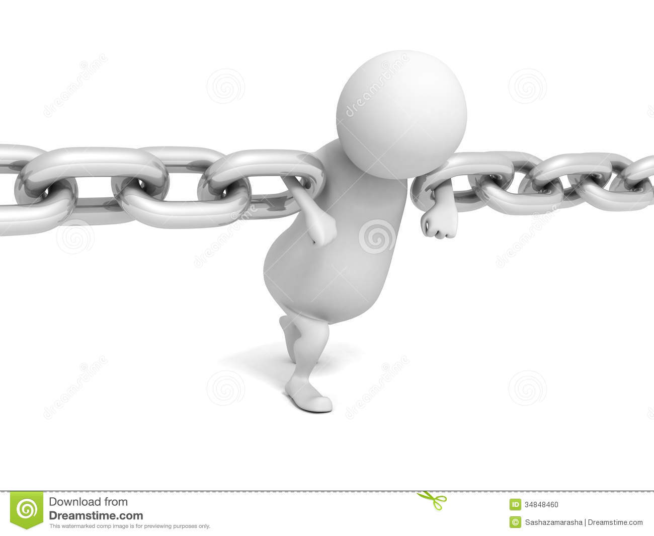 3D Person Holding Two Chains Links Together Connect Stock Photo ...