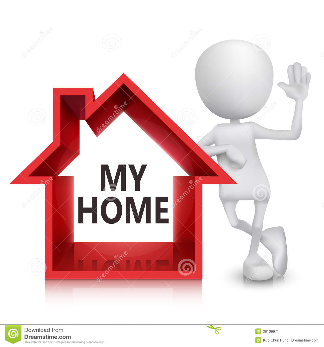 3d Person With A House Symbol Stock Vector Illustration Of Little