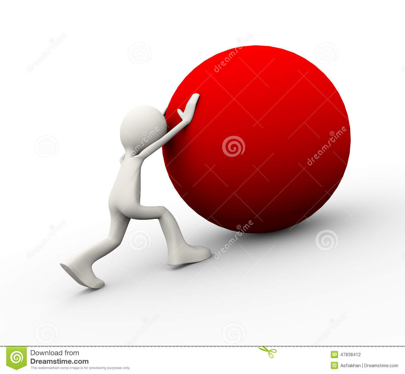 3d Person Pushing Ball Uphill Stock Illustration - Image: 47838412 ...