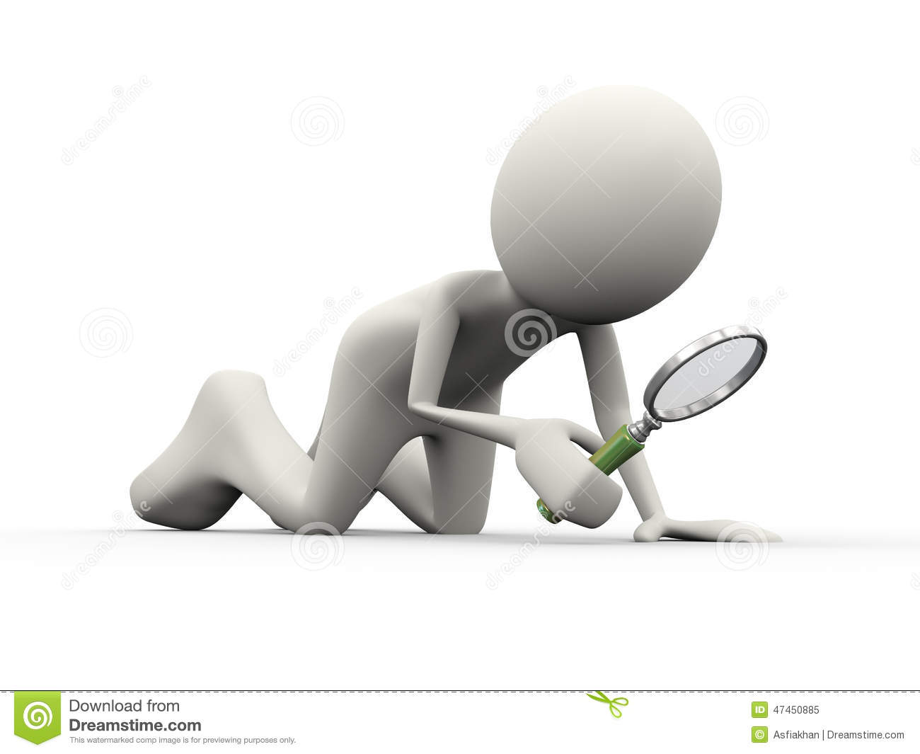 3d Person Searching With Magnifying Glass Stock