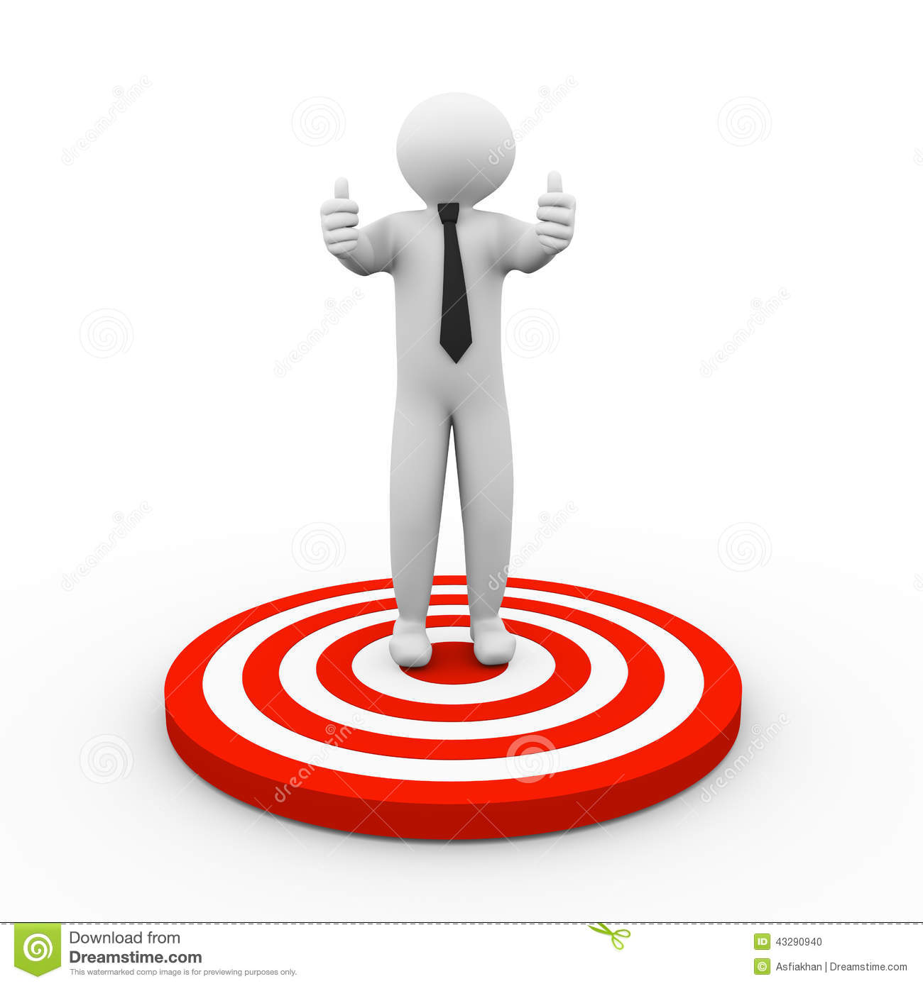 3d Person Standing On Target Stock Illustration Image