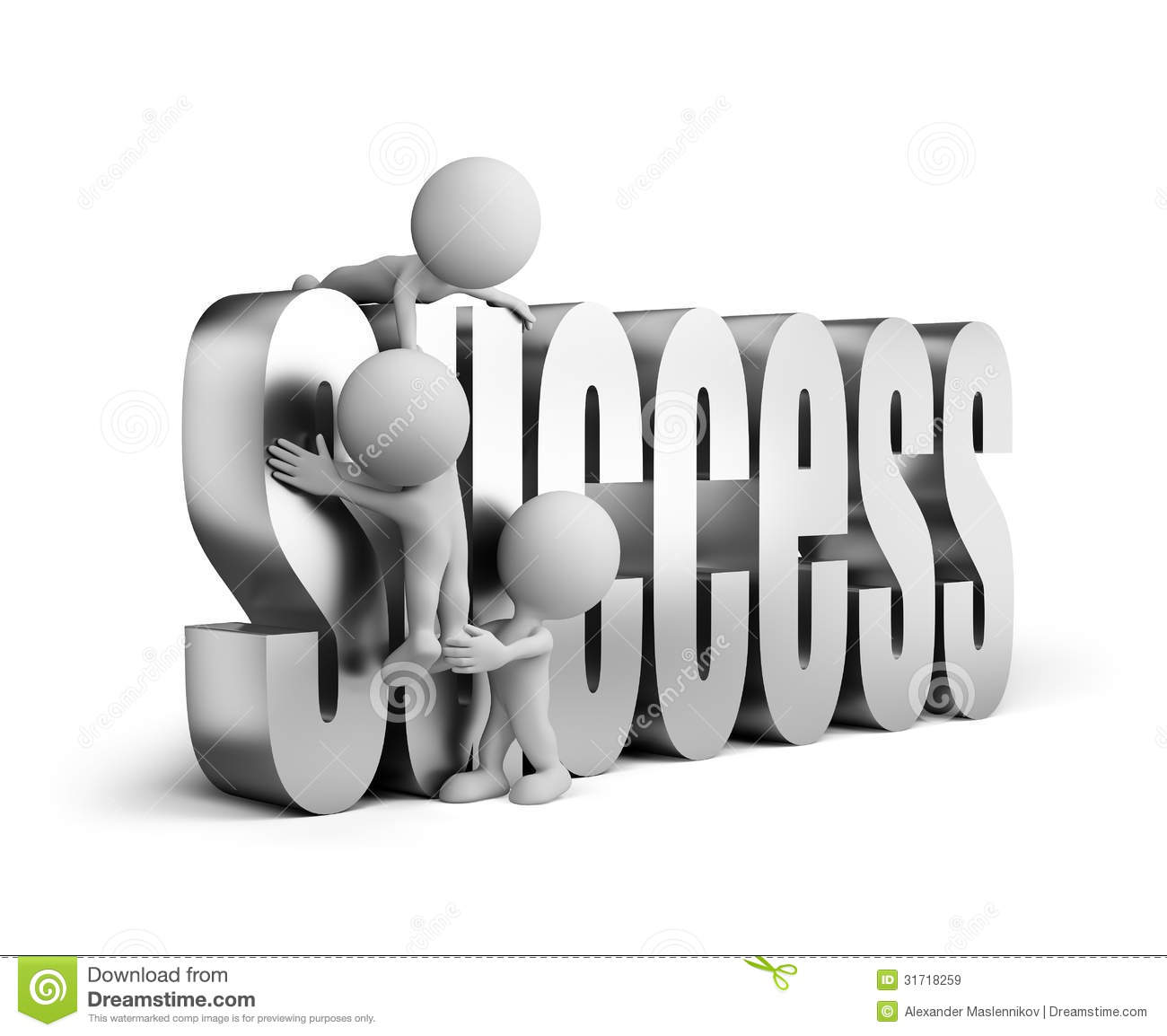 People Helping Each Other: 3d Person Striving For Success Royalty Free Stock Images