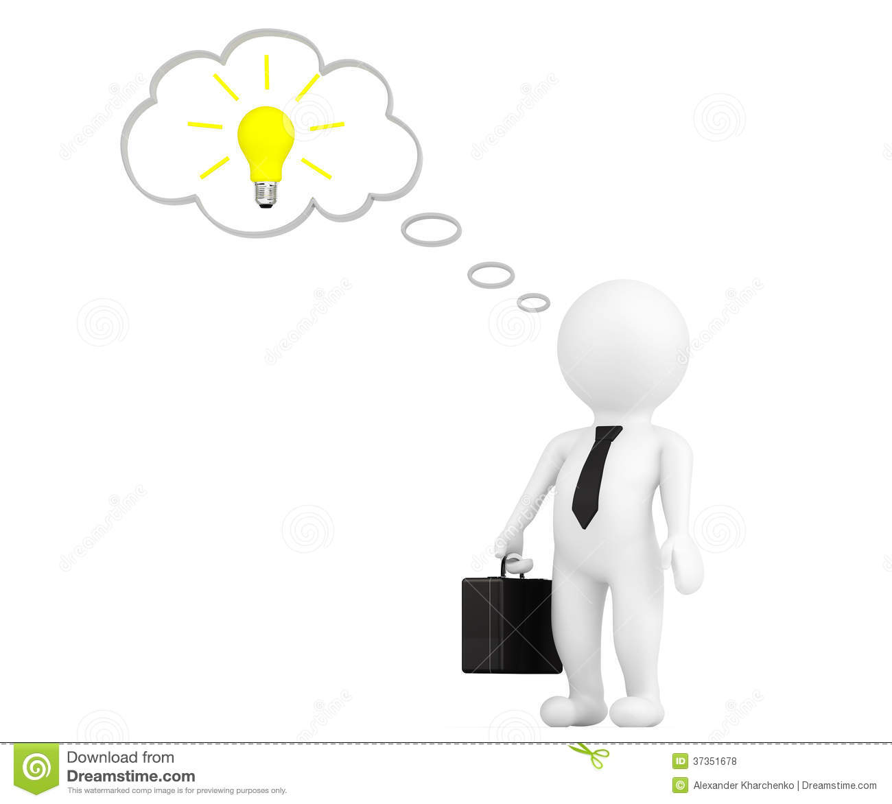 3d Person With Thought Bubble And Idea Bulb Royalty Free Stock Photos ...