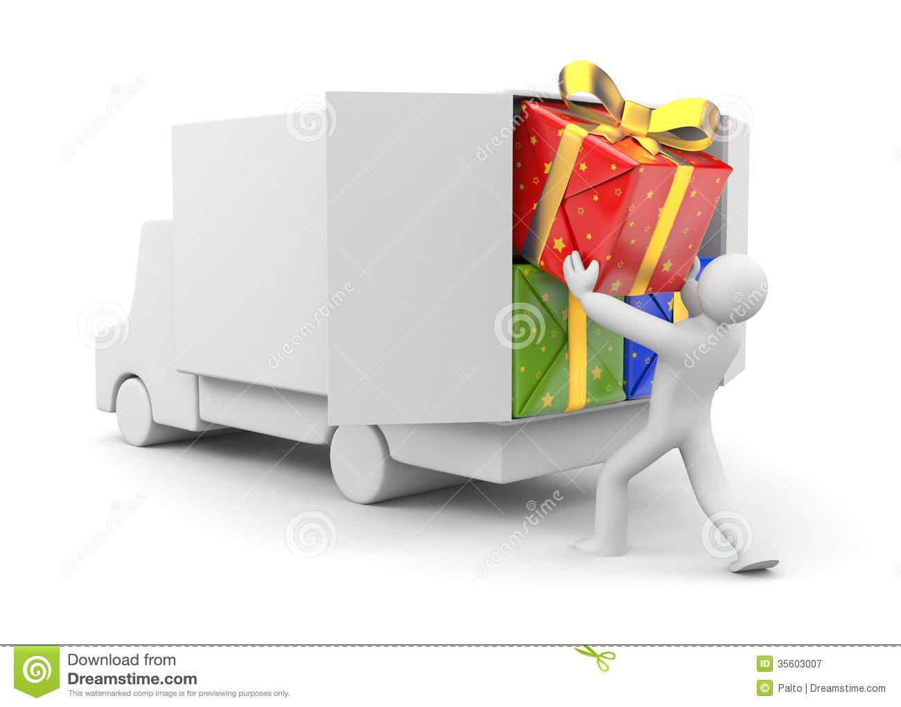 Expensive Car For Sale Or Gift Royalty Free Stock Image: 3d Person Unload Car With Gift Stock Illustration