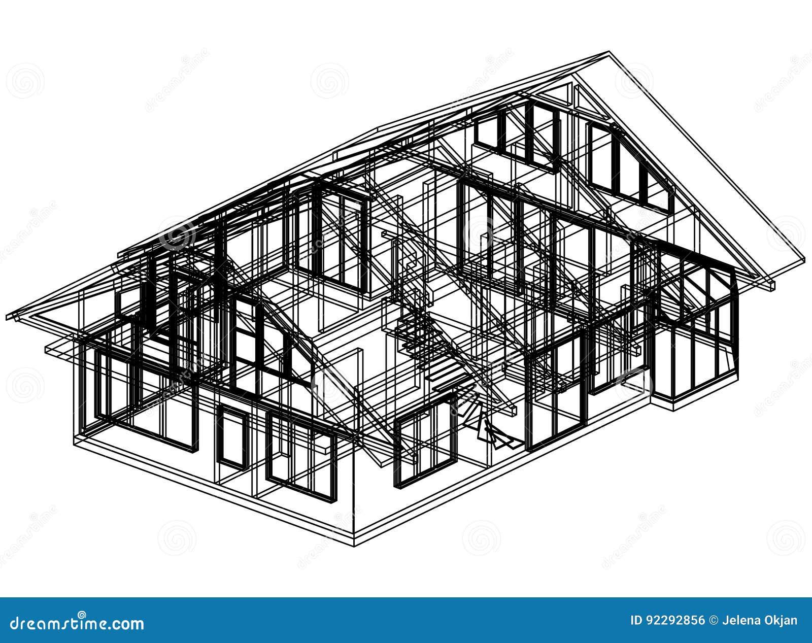 3D perspectief van de huisblauwdruk