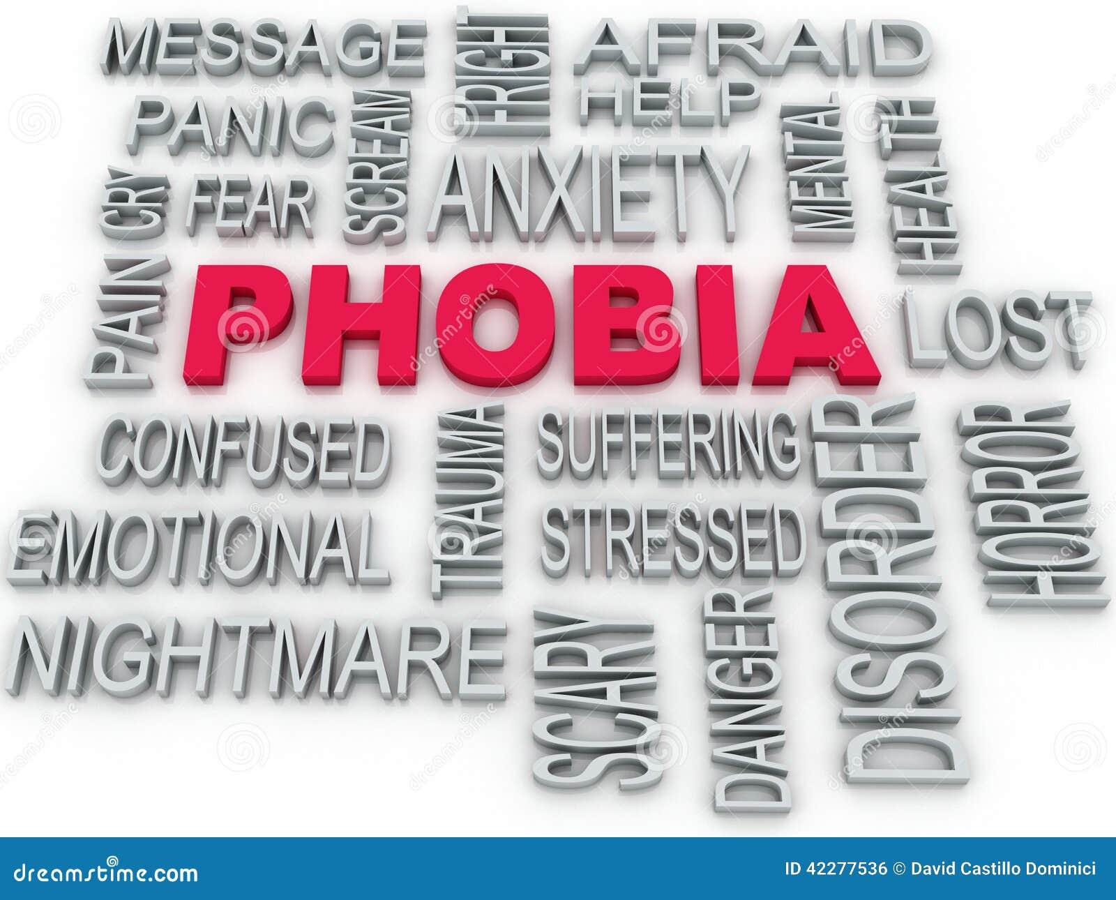 3d Phobia symbol conceptual design on white. Anxiety di