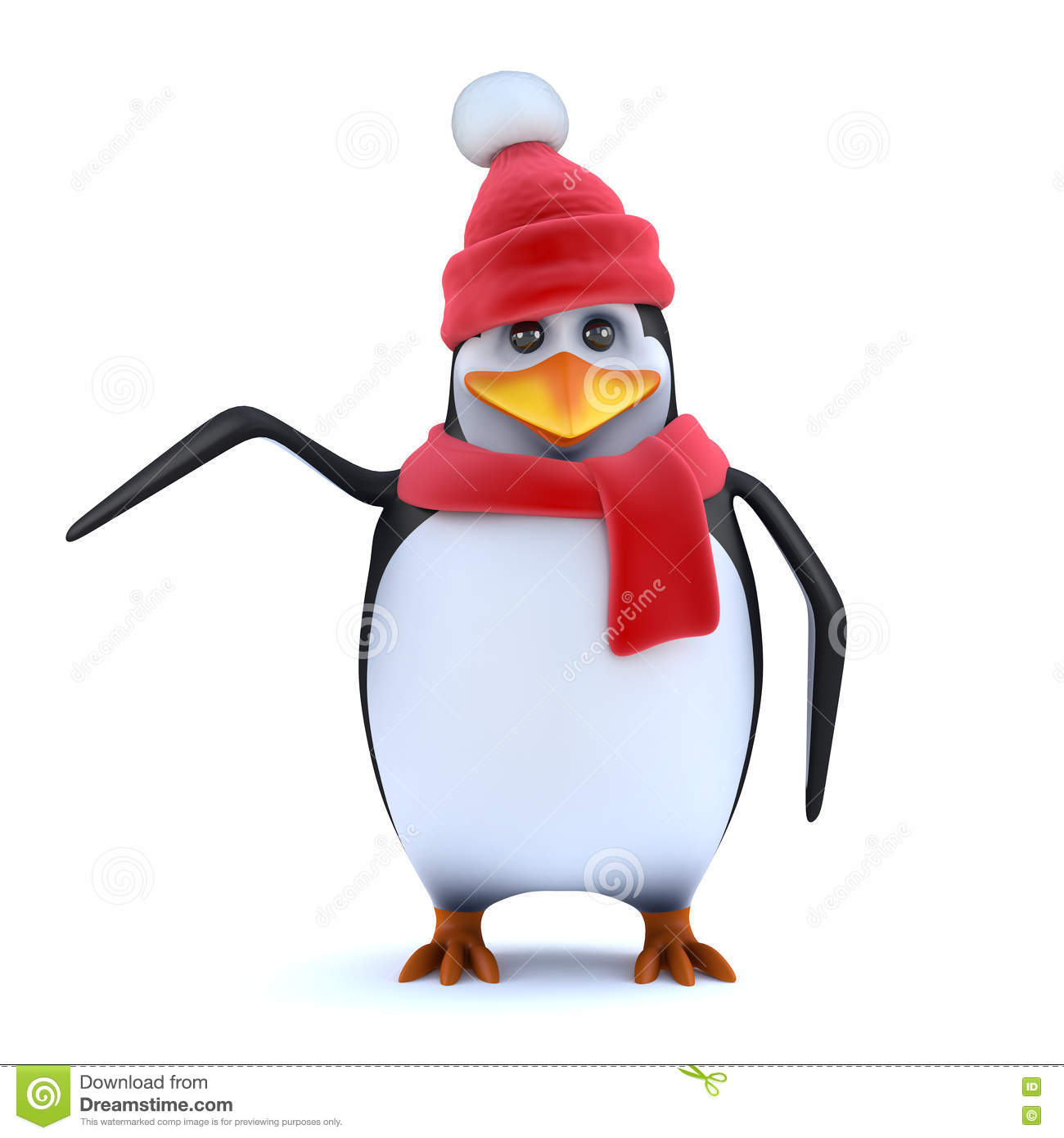 3d pingwinu Wooly hatted punkty strona