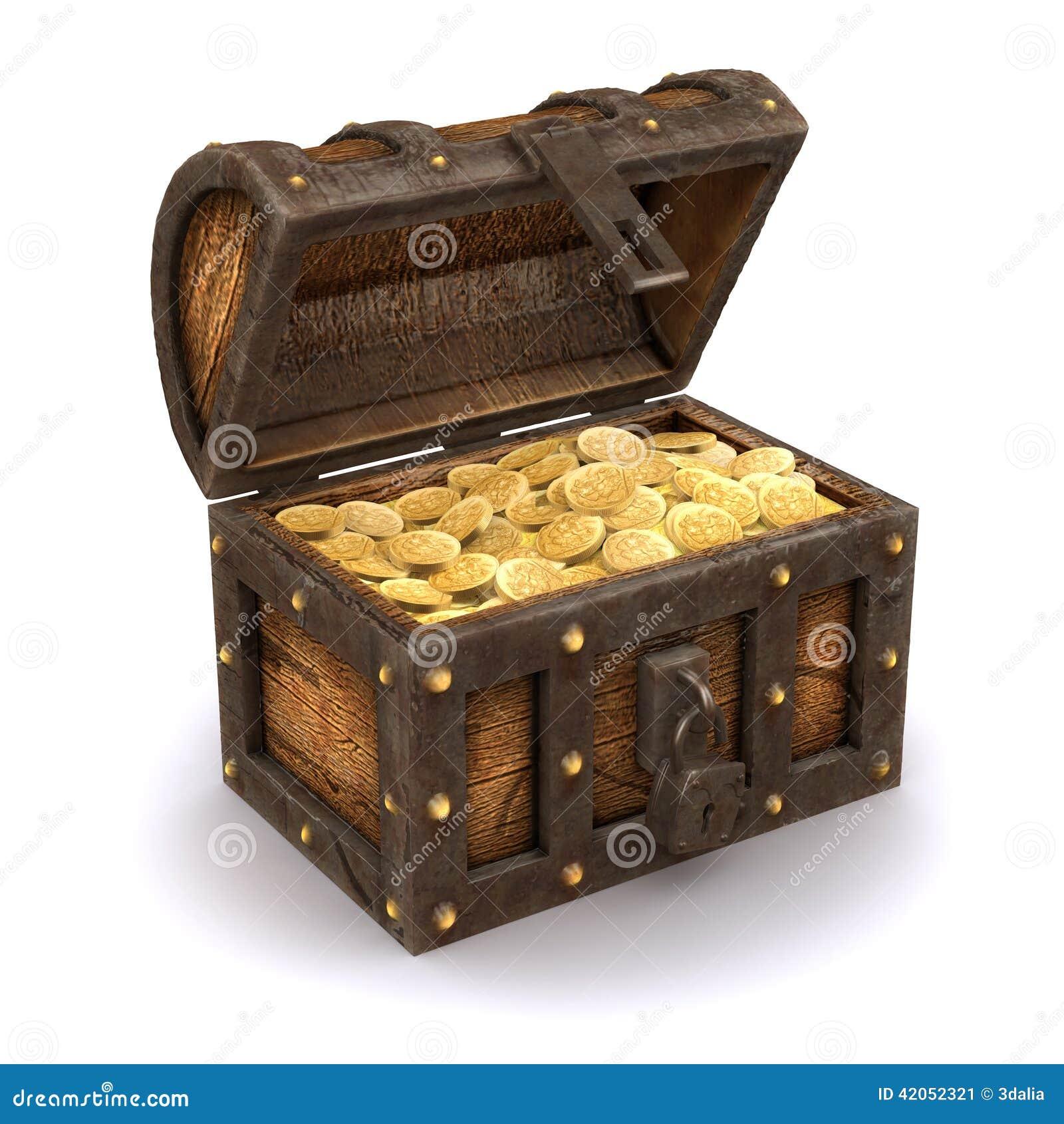 3d pirate le coffre au tr sor illustration stock image 42052321 - Coffre chasse au tresor ...