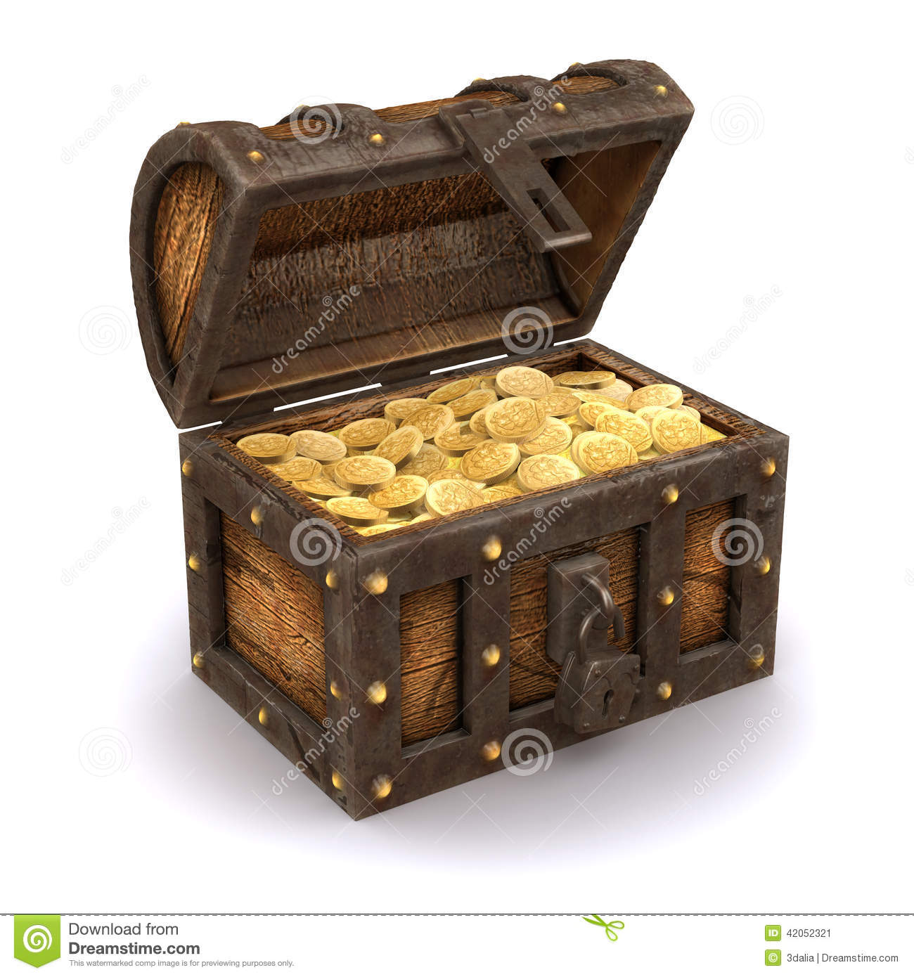 3d Pirates Treasure Chest Stock Illustration - Image: 42052321