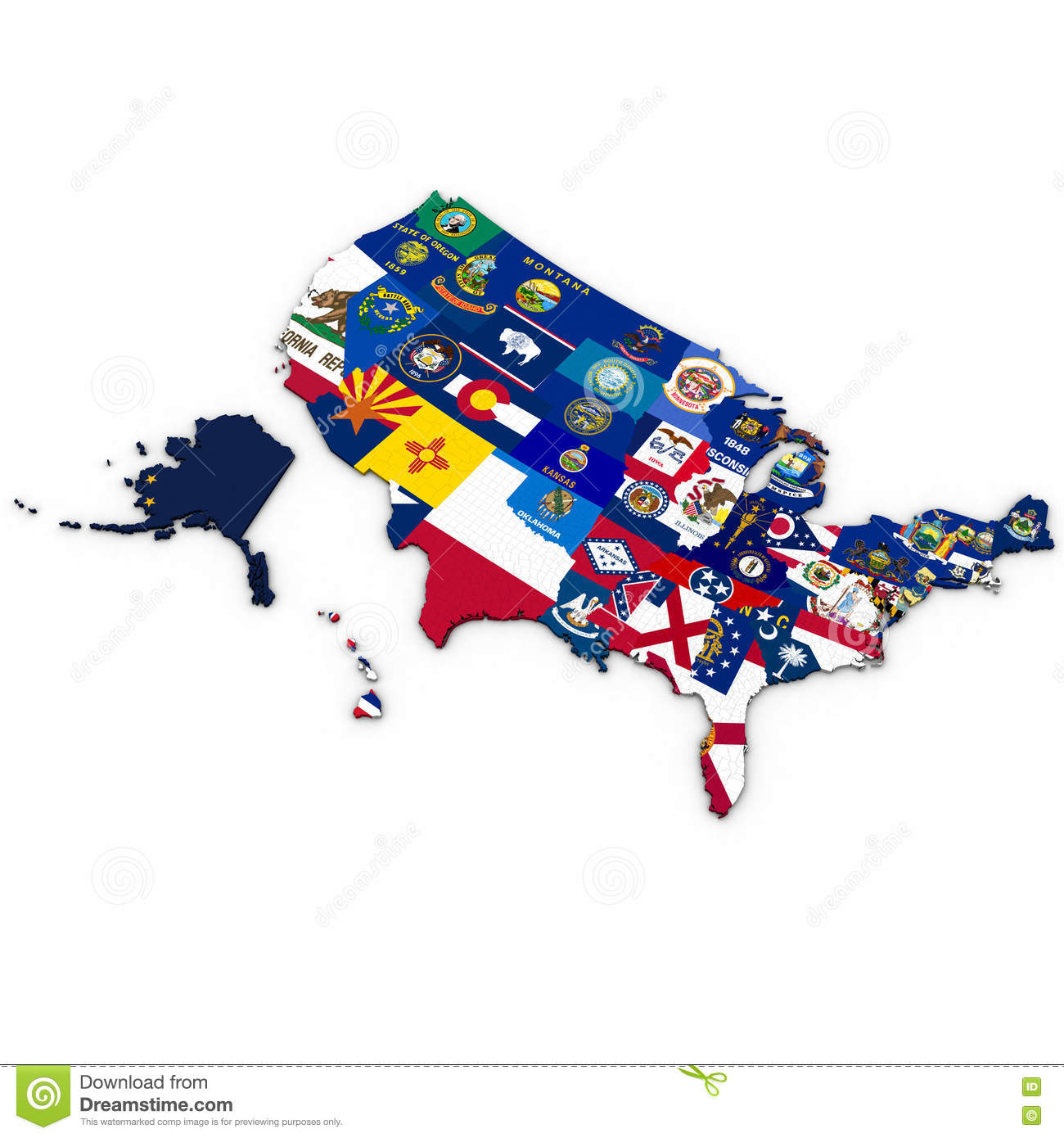 3d Political Map Of The United States With Counties Stock ...