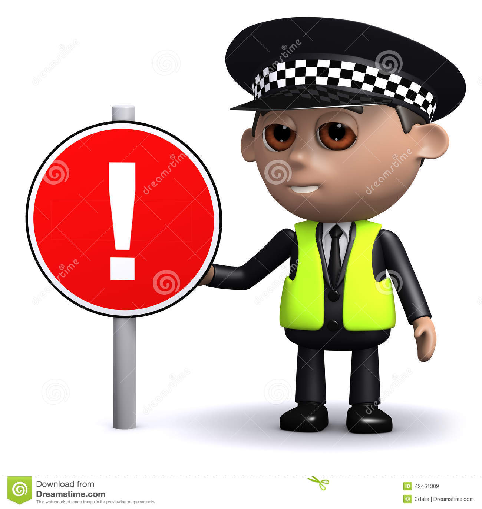 3d Polizeibeamte mit einem Verkehrsschild, Aufmerksamkeit!