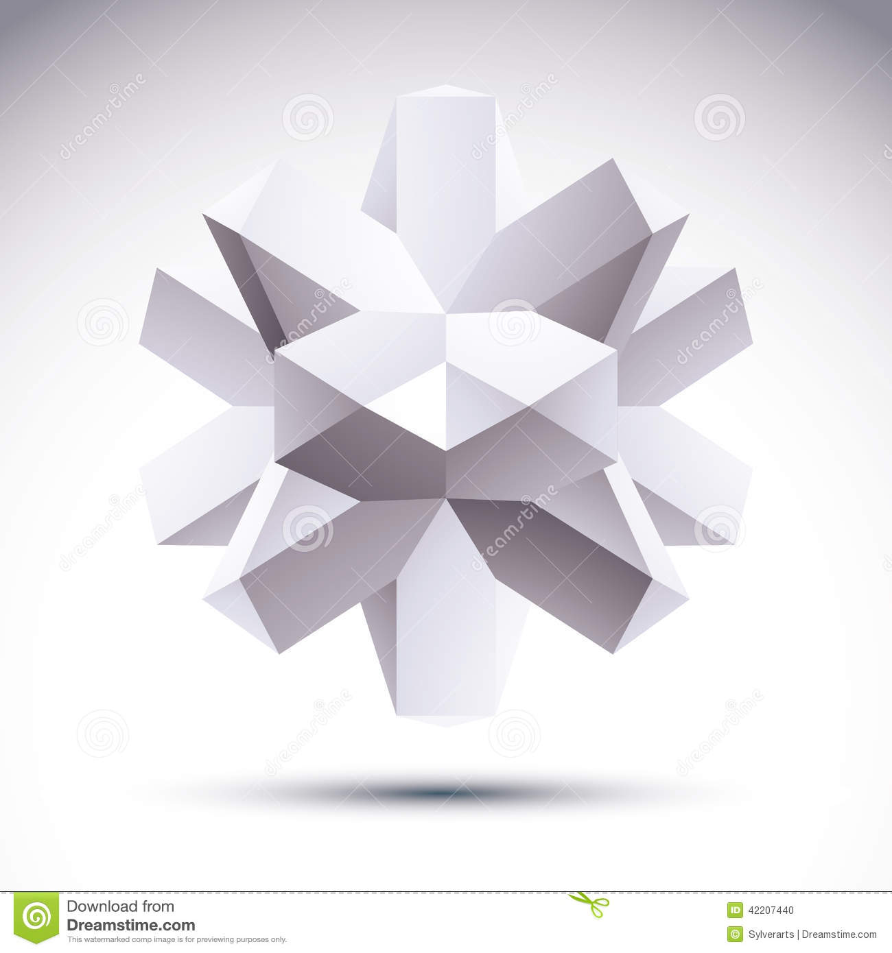 3d Polygonal Geometric Object Vector Abstract Design