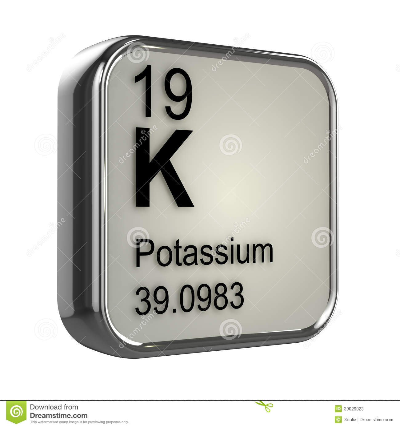 3d Potassium Element Stock Illustration - Image: 39029023