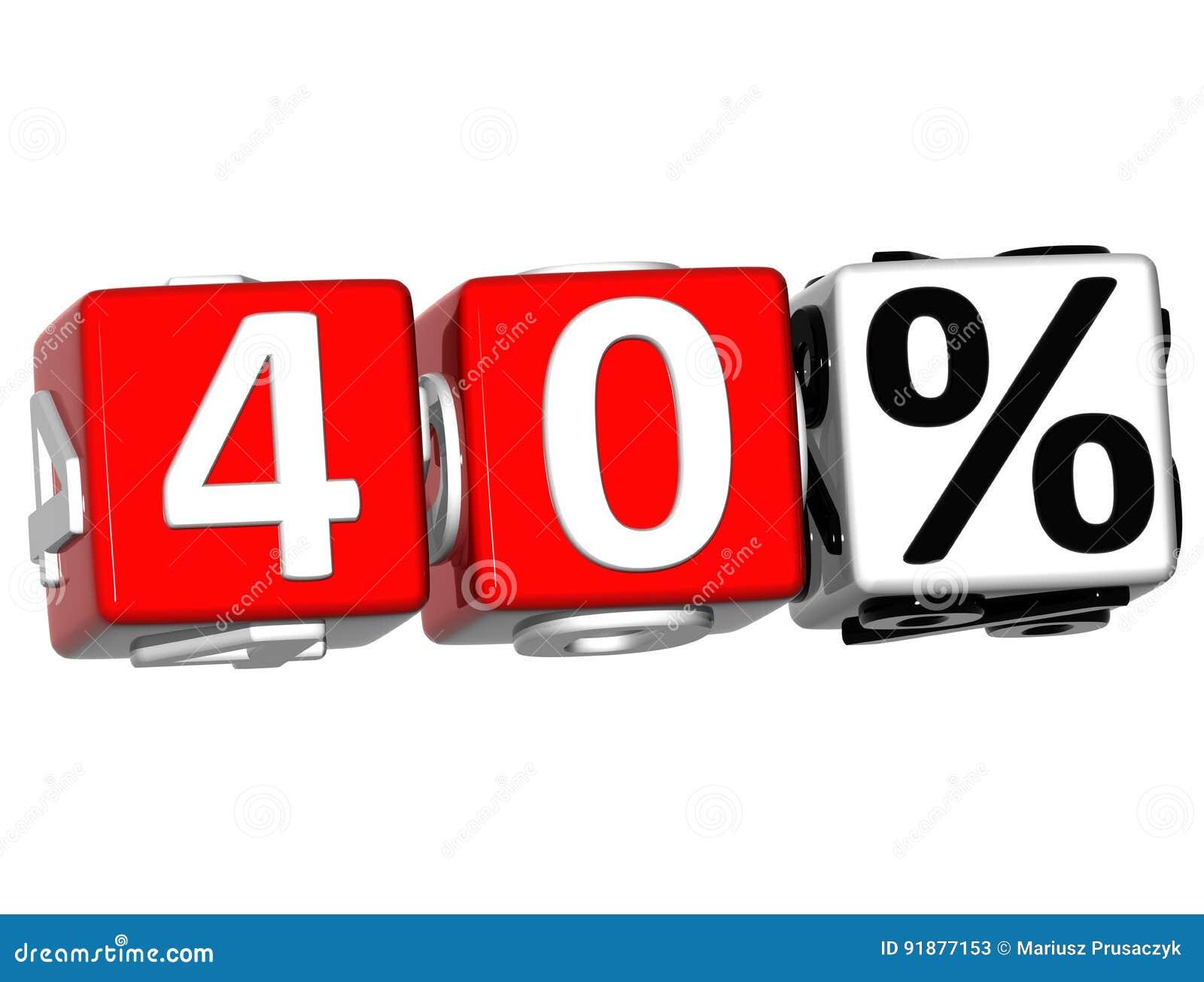 3D 40 pour cent de bouton de cliquez ici de textes de bloc