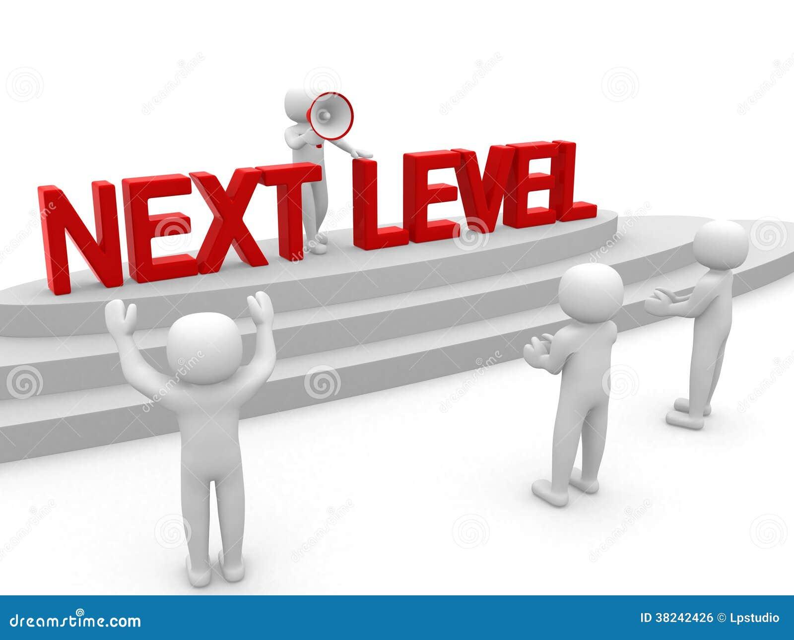 3d povos - homem, pessoa com escada Nível seguinte Concep do progresso