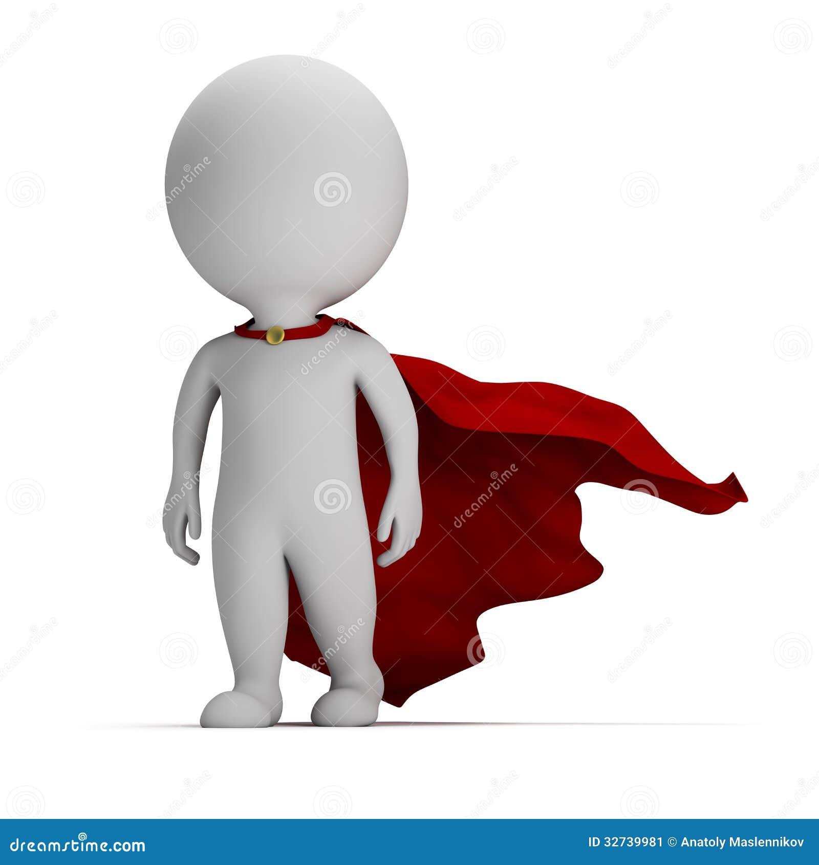 3d povos pequenos - super-herói corajoso