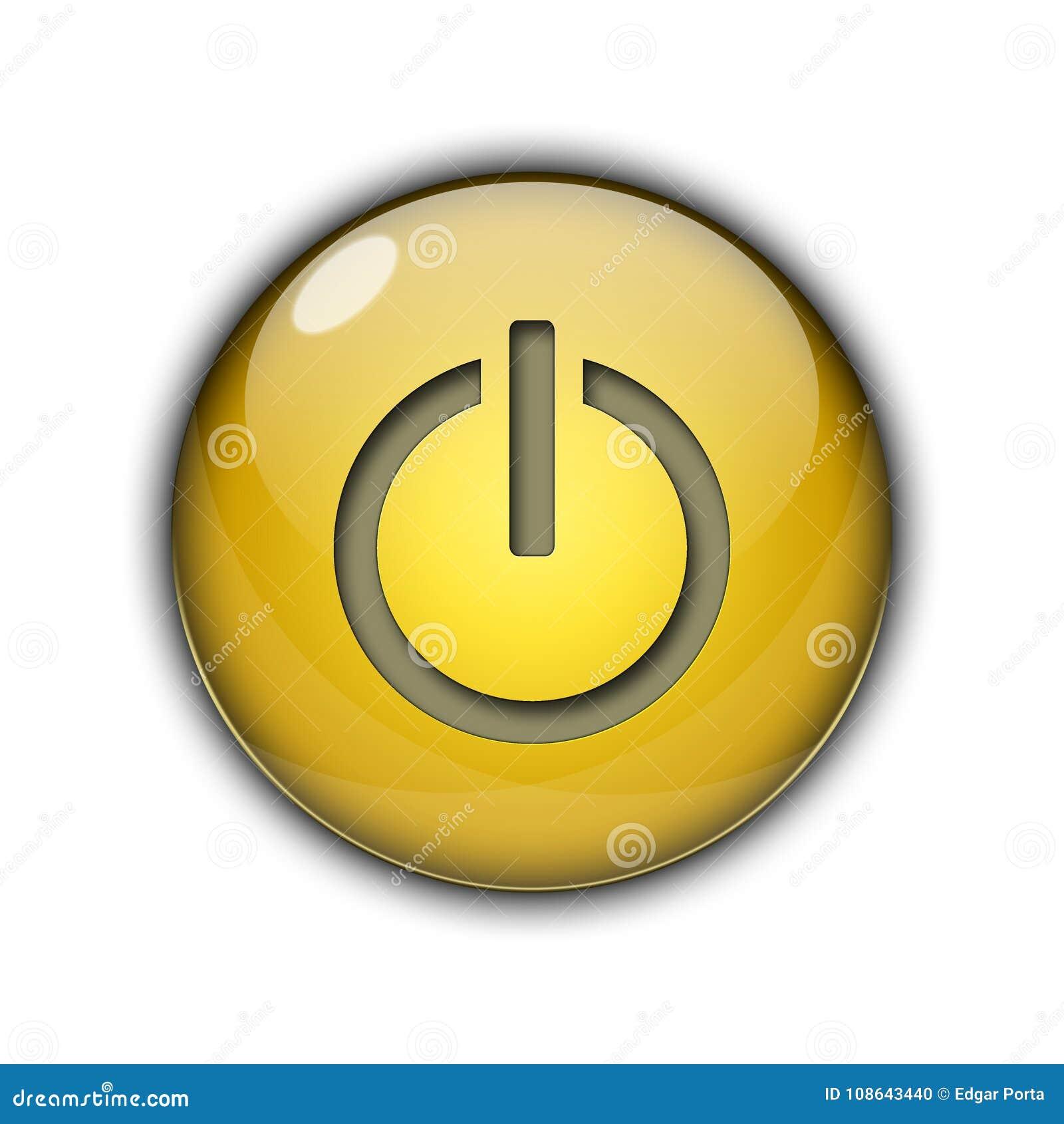 3D Power Start Button Yellow Color Stock Illustration - Illustration