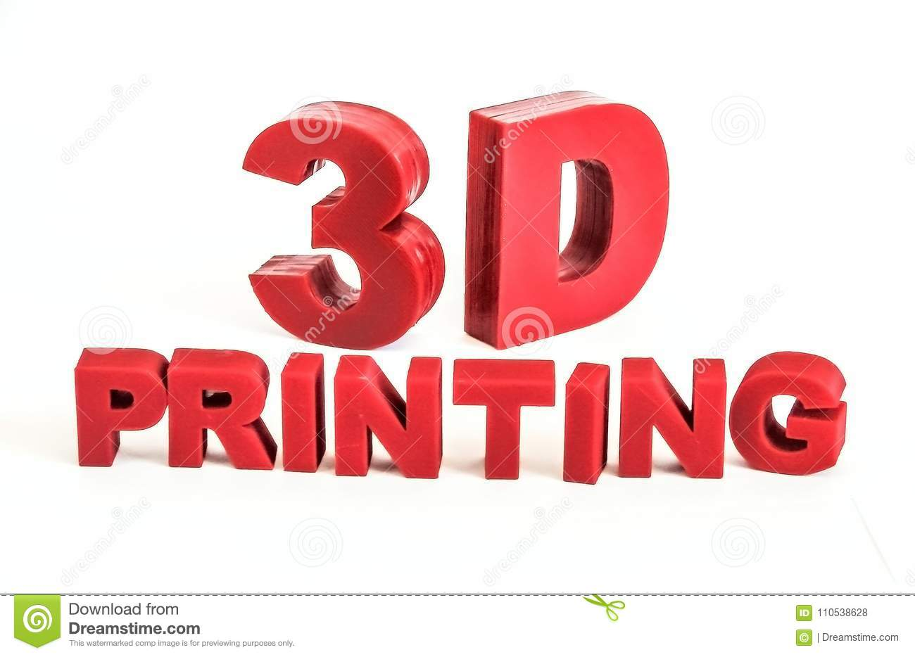 The 3d-printed red letters `3D printing` on a white background.