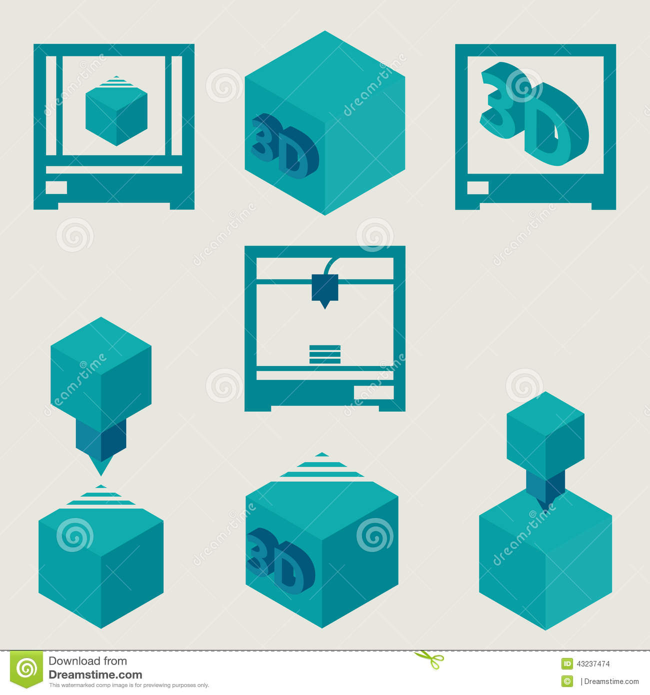 3d Printer Flat Blue Icons Set Stock Vector Image 43237474