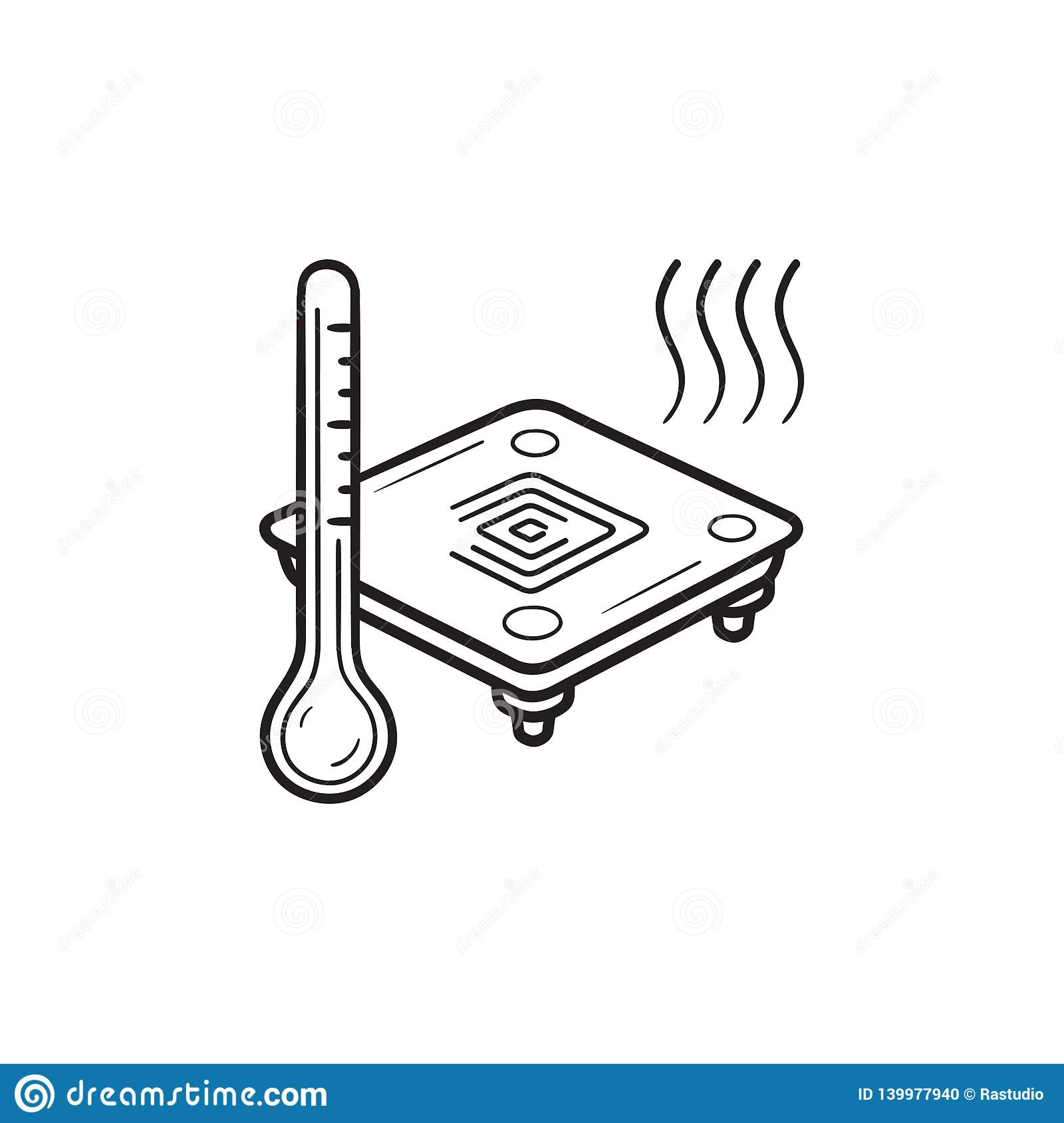 3d Printer Heated Bed Hand Drawn Outline Doodle Icon Stock