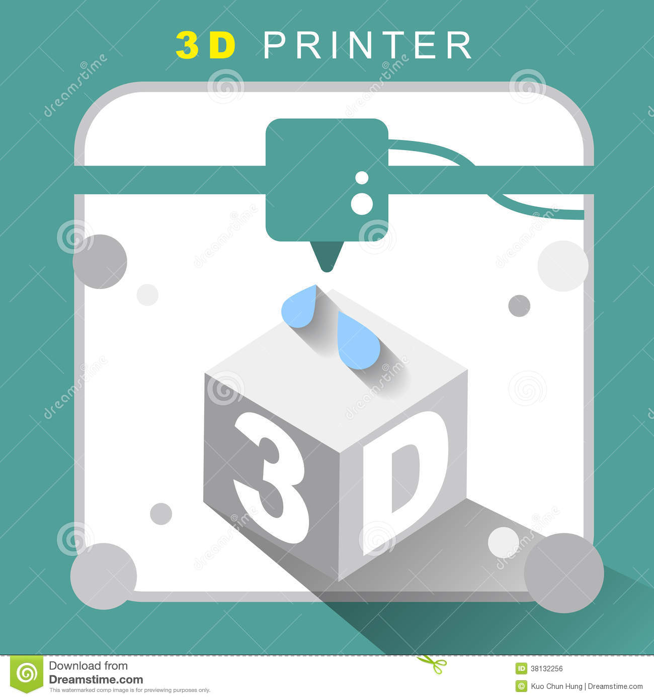 3d printer icon with flat design royalty free stock image for 3d flat design online