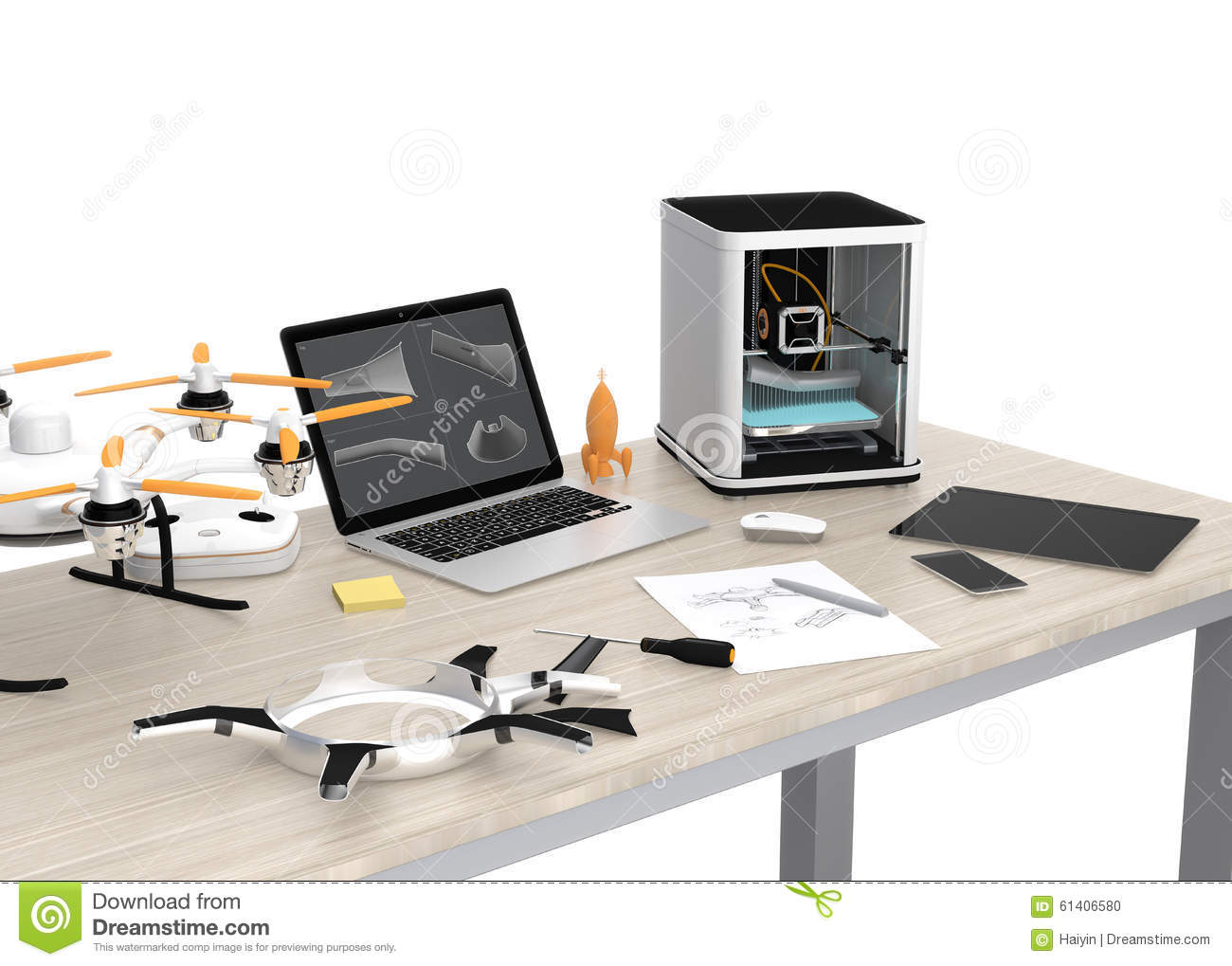 3d printer laptop tablet pc and drone on a table stock. Black Bedroom Furniture Sets. Home Design Ideas
